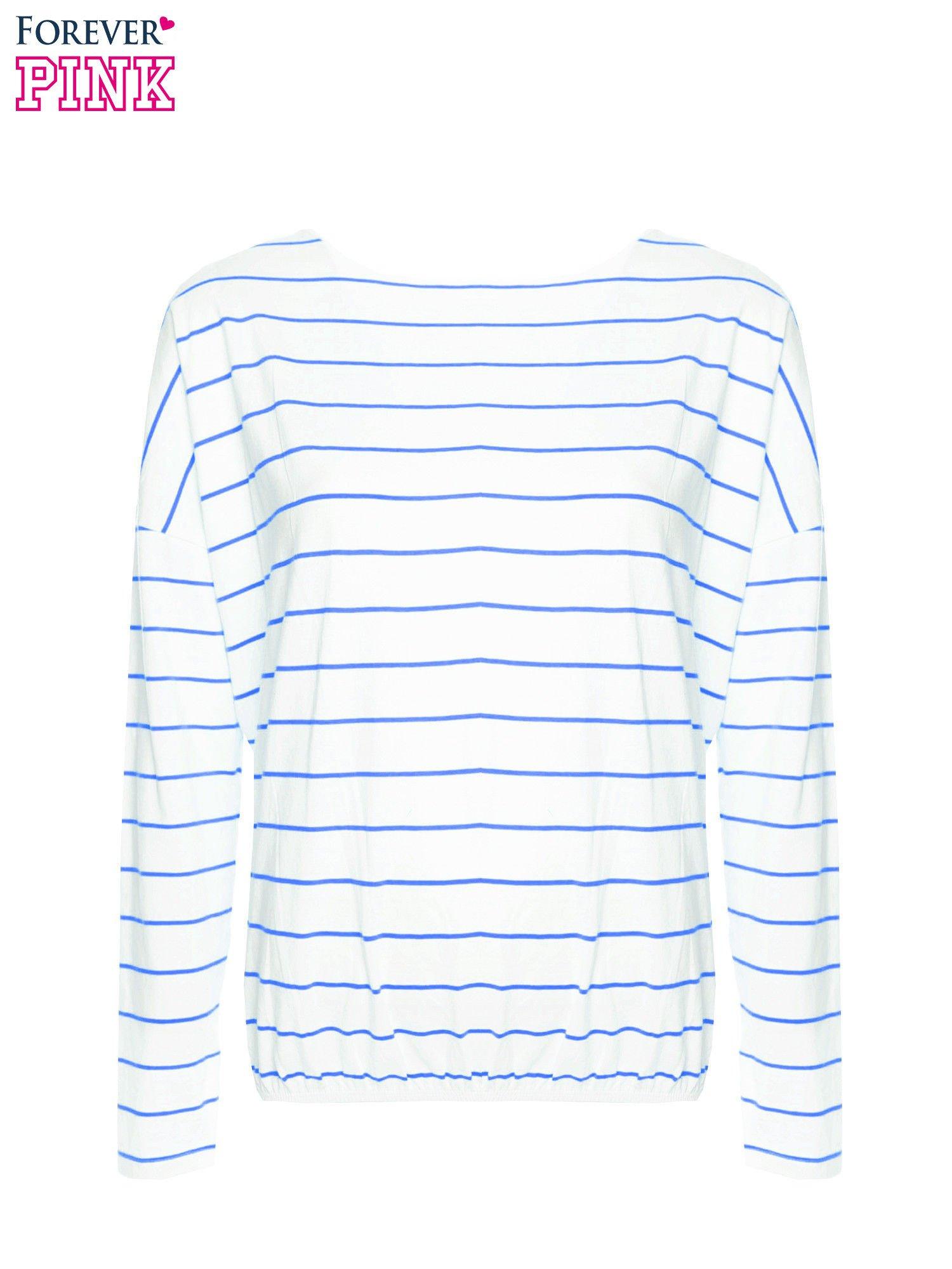 Bluzka w biało-niebieskie paski z gumką u dołu                                  zdj.                                  5