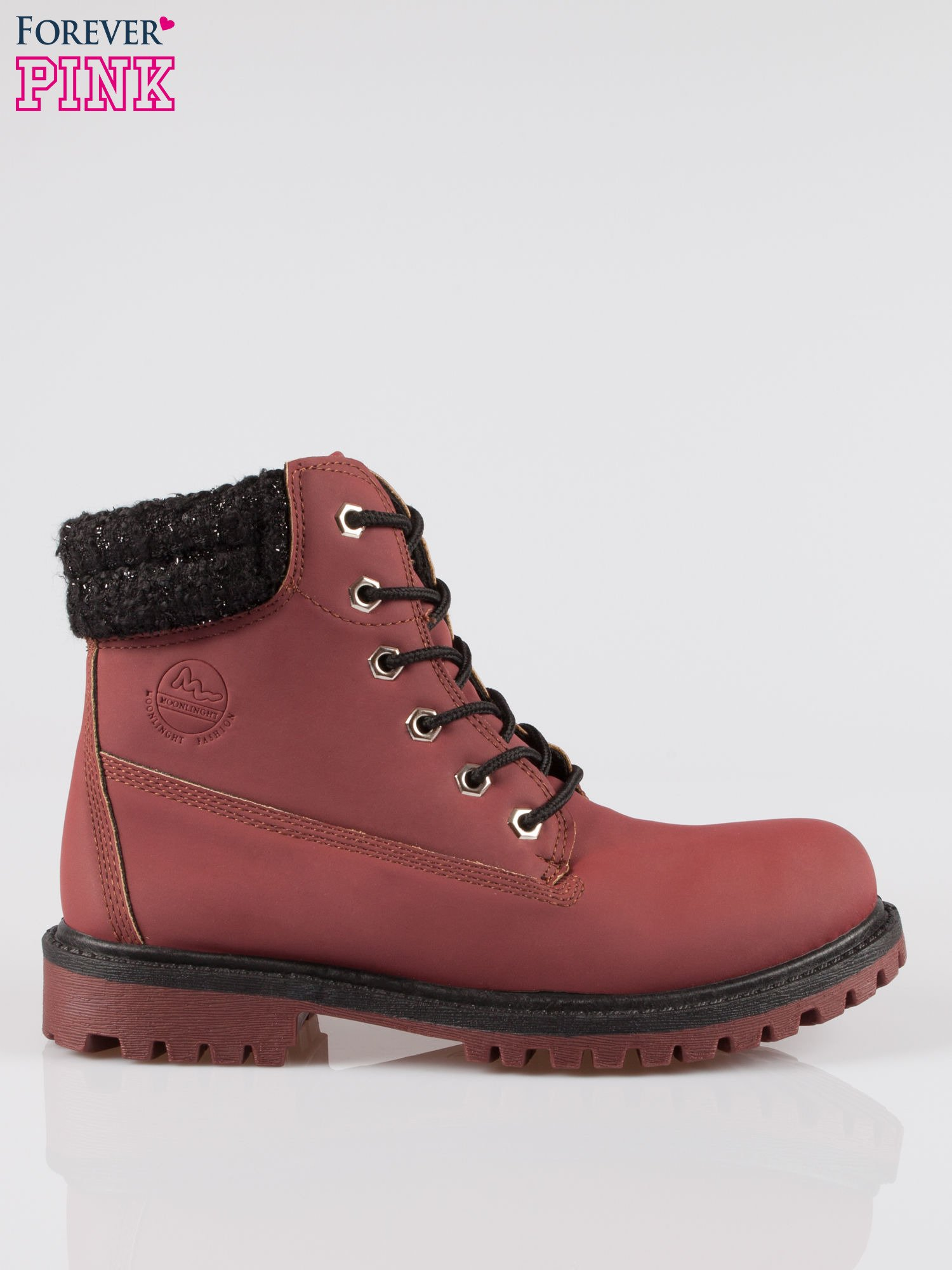 Bordowe buty trekkingowe traperki z ozdobnym kołnierzem                                  zdj.                                  1