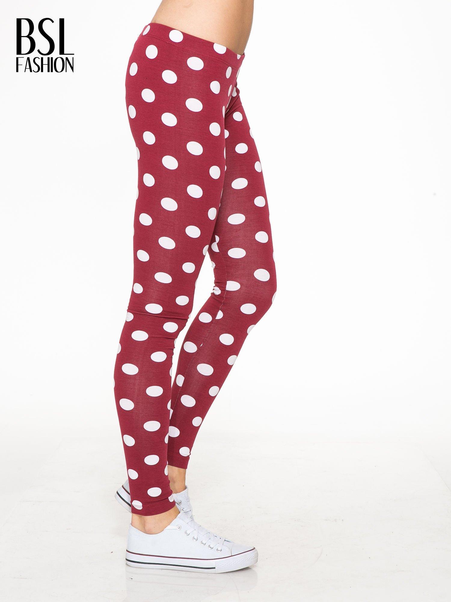 Bordowe legginsy w grochy                                  zdj.                                  3