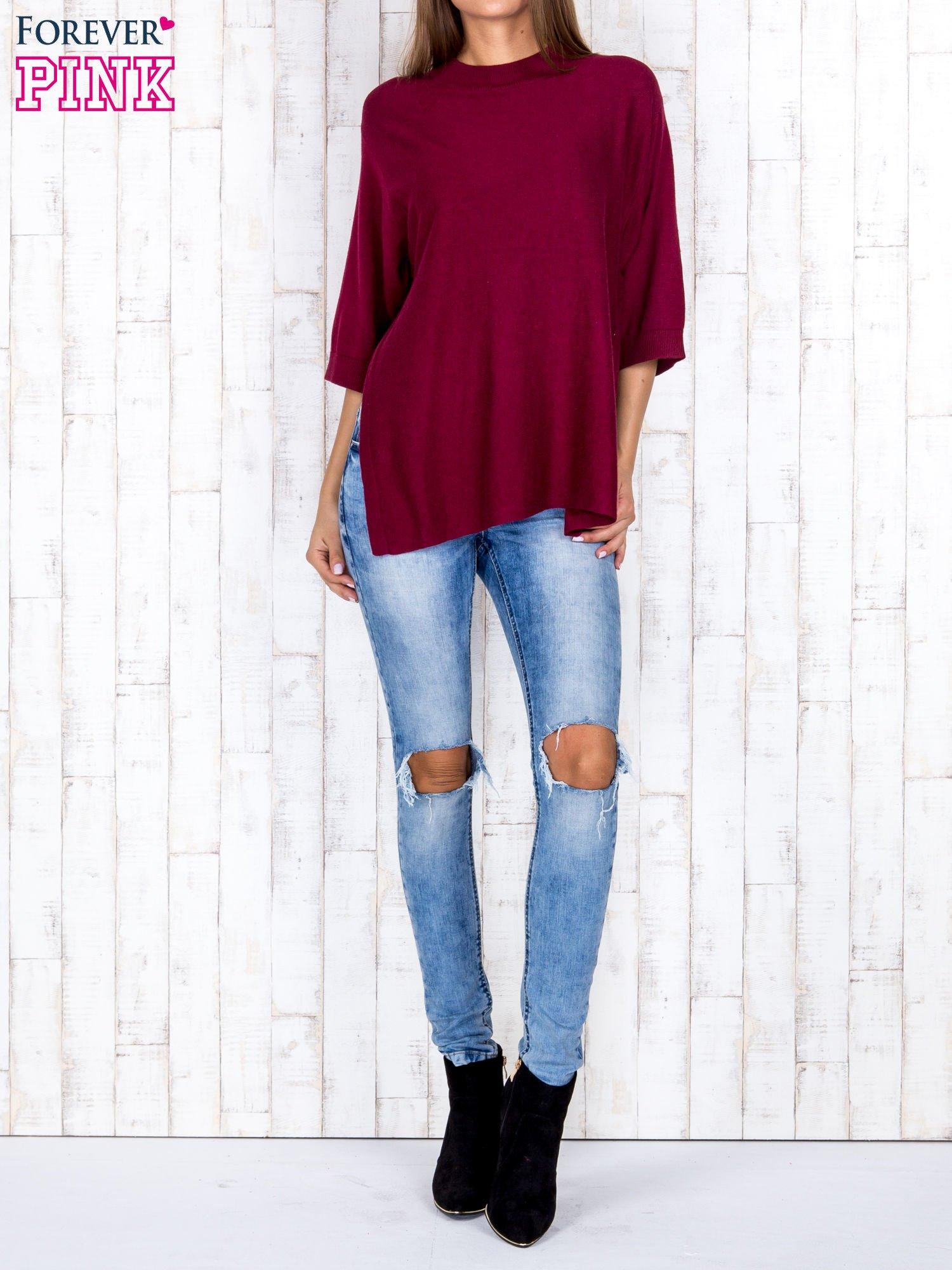 Bordowy luźny sweter oversize z bocznymi rozcięciami                                  zdj.                                  2
