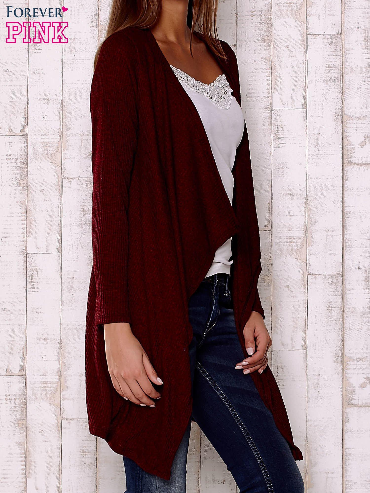Bordowy melanżowy sweter z otwartym dekoltem                                  zdj.                                  3