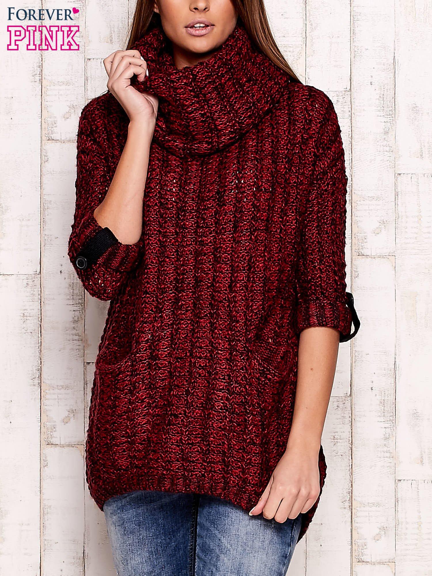 Bordowy melanżowy sweter z szerokim golfem i kieszeniami                                   zdj.                                  1