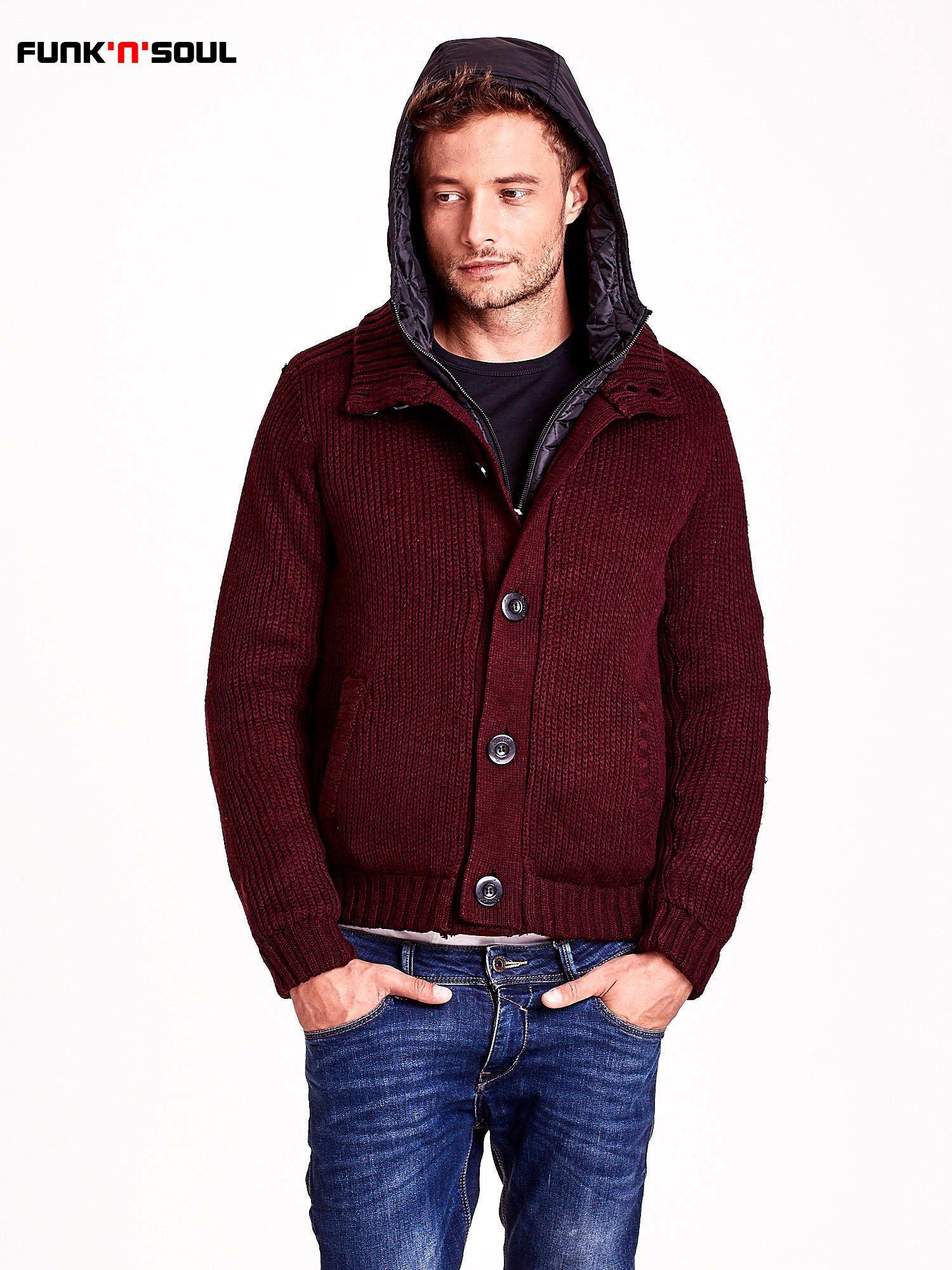 Bordowy sweter męski z podszewką i kapturem FUNK N SOUL                                  zdj.                                  6