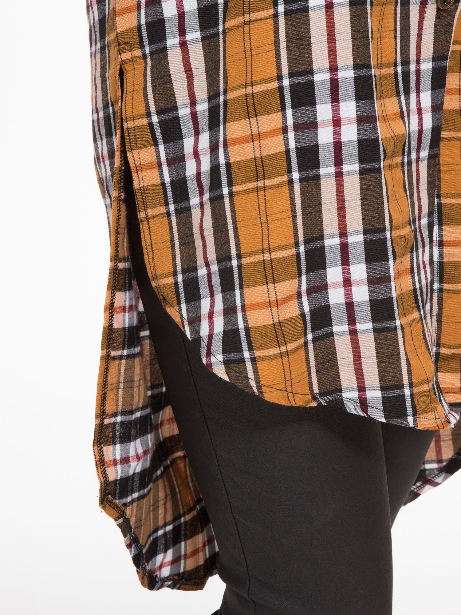 Brązowa długa koszula w kratę w kratę z kieszeniami                                  zdj.                                  7