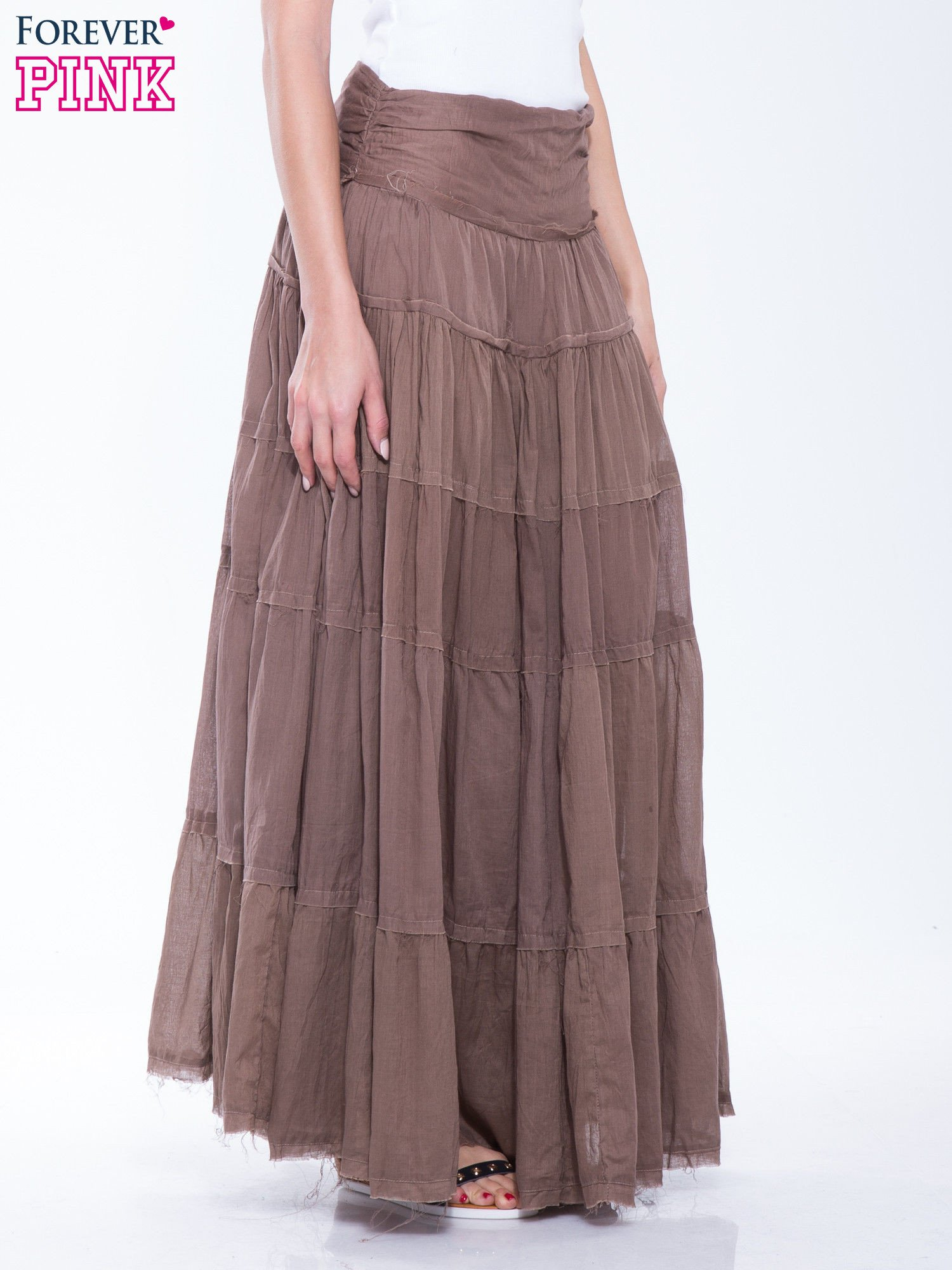 Brązowa długa spódnica maxi w stylu boho                                  zdj.                                  3
