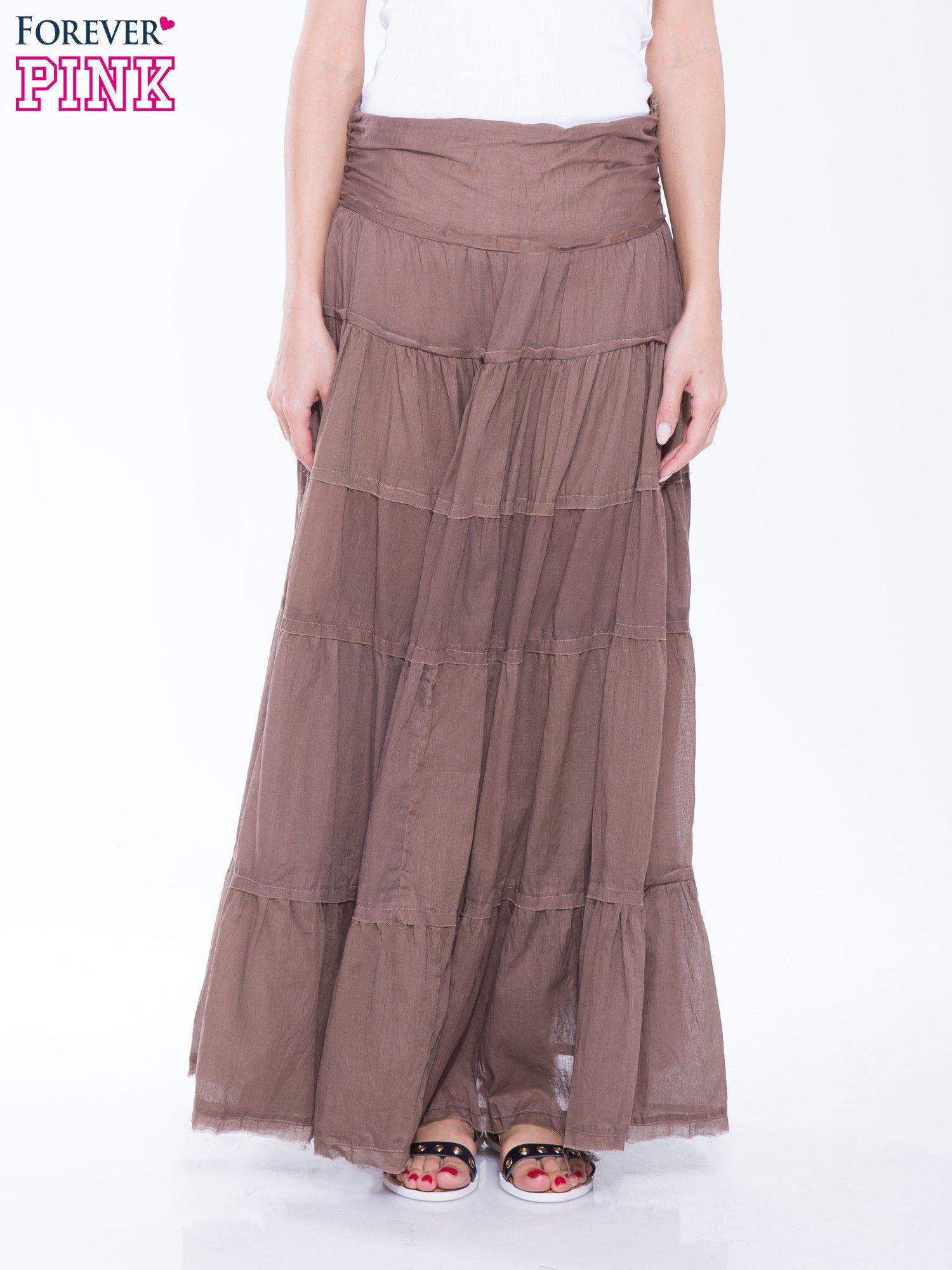 Brązowa długa spódnica maxi w stylu boho                                  zdj.                                  1
