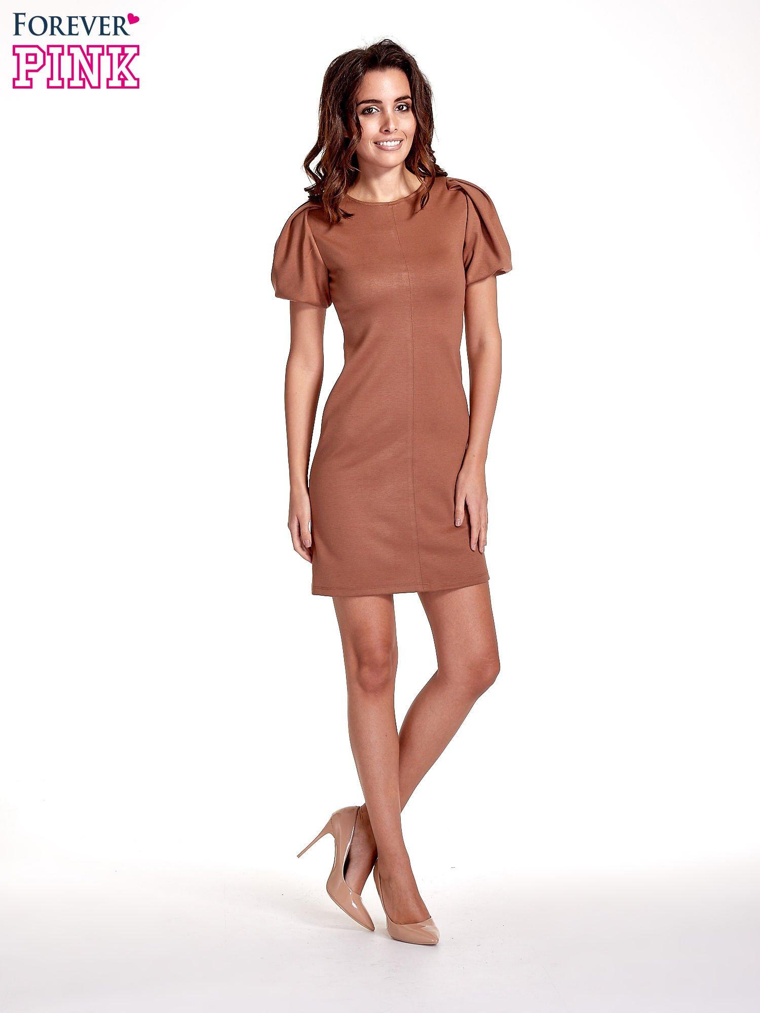 Brązowa gładka sukienka z bufiastymi rękawami                                  zdj.                                  7