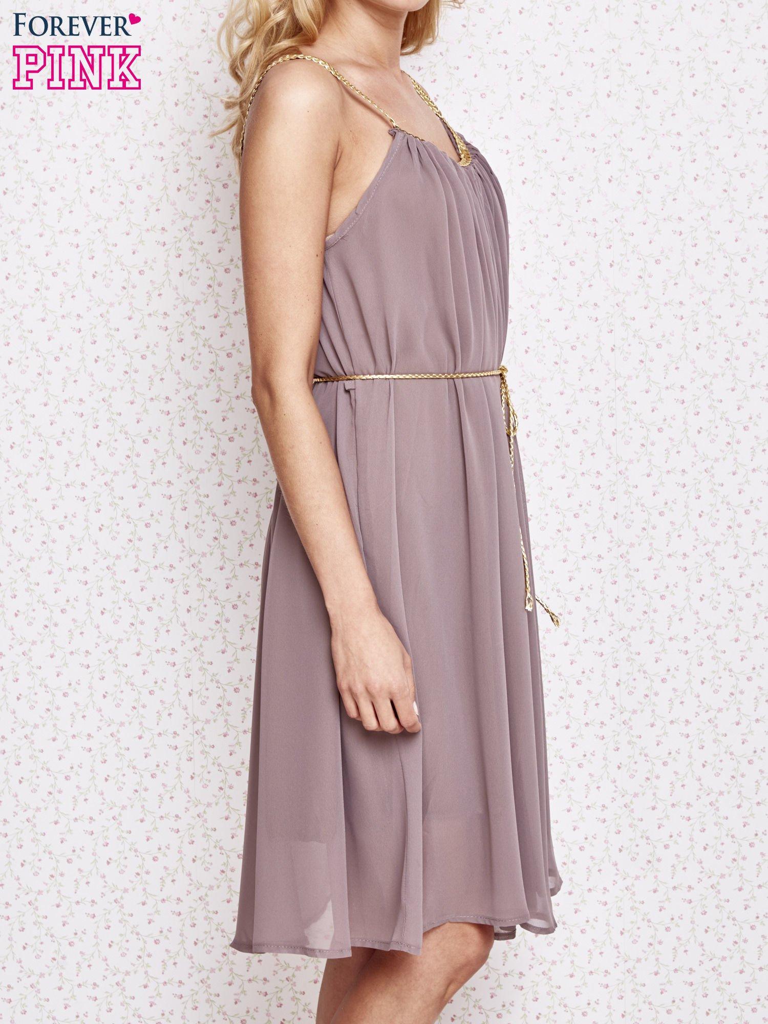 Brązowa grecka sukienka ze złotym paskiem                                  zdj.                                  3