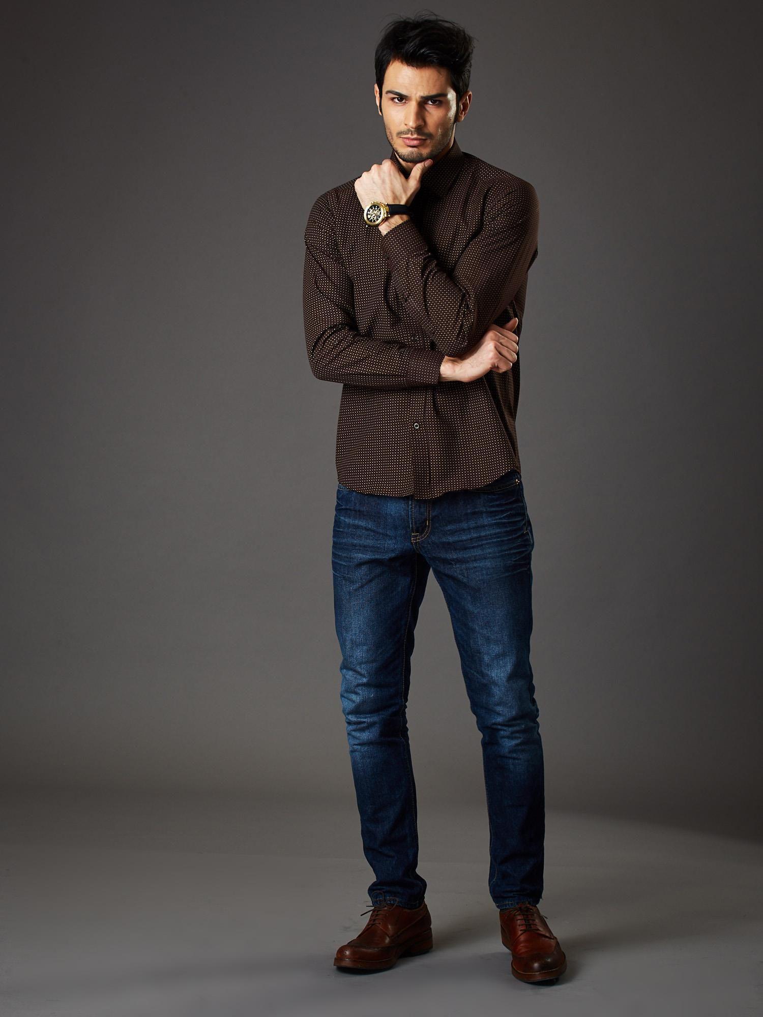 Brązowa koszula męska w kropki regular fit Mężczyźni  JPwUY