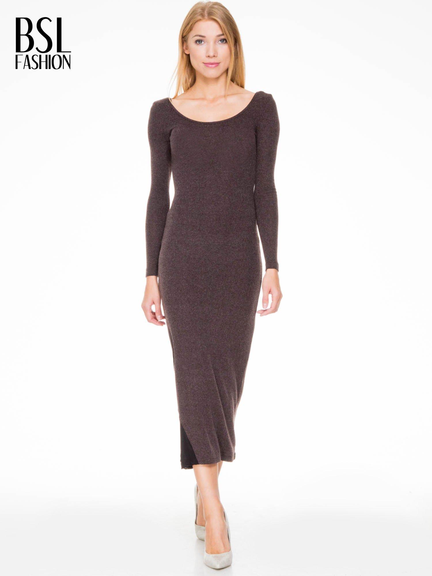 Brązowa maxi sukienka z asymetryczną wstawką na dole z tiulu                                  zdj.                                  2
