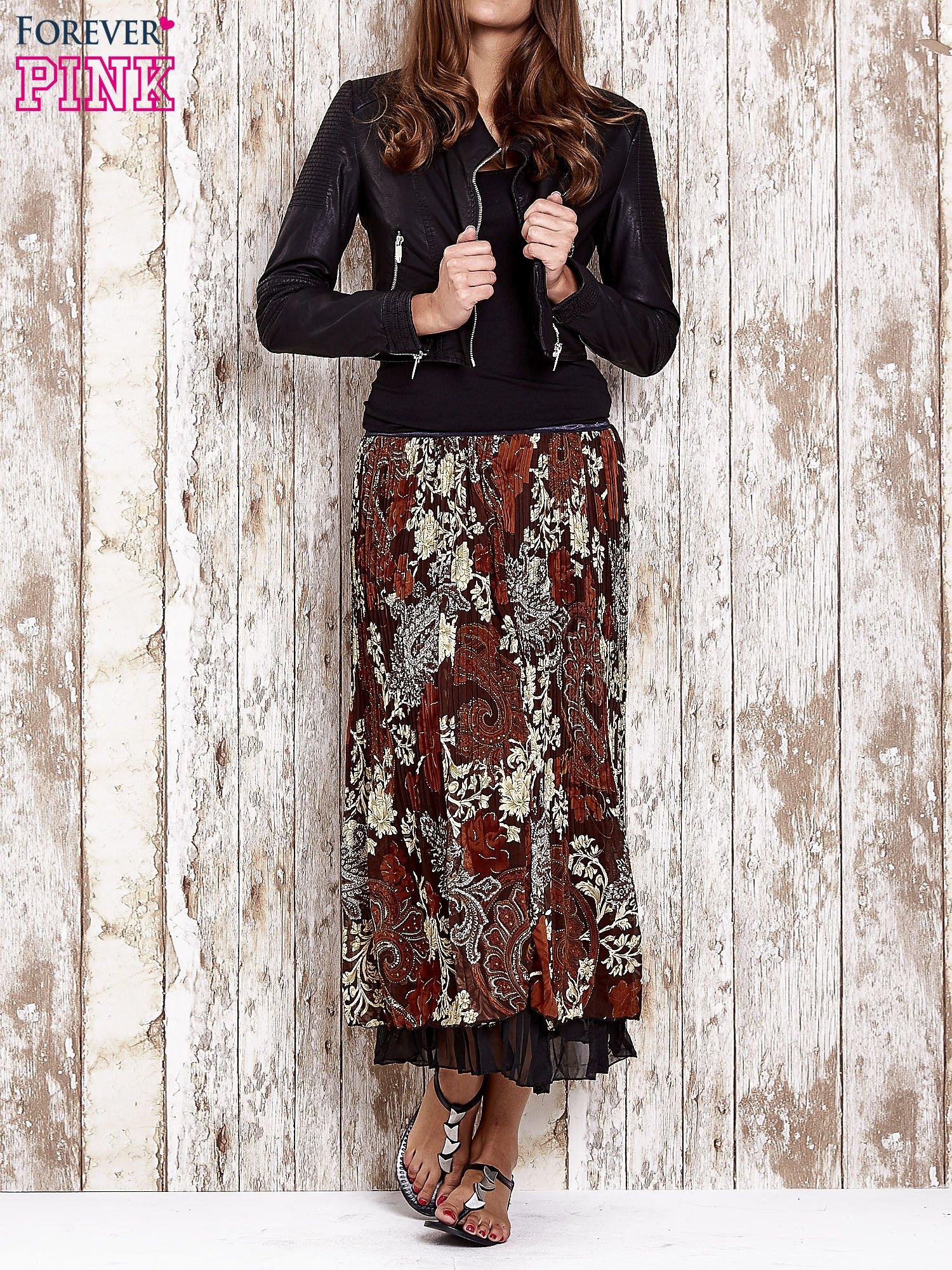 Brązowa plisowana spódnica midi z brokatem                                  zdj.                                  2