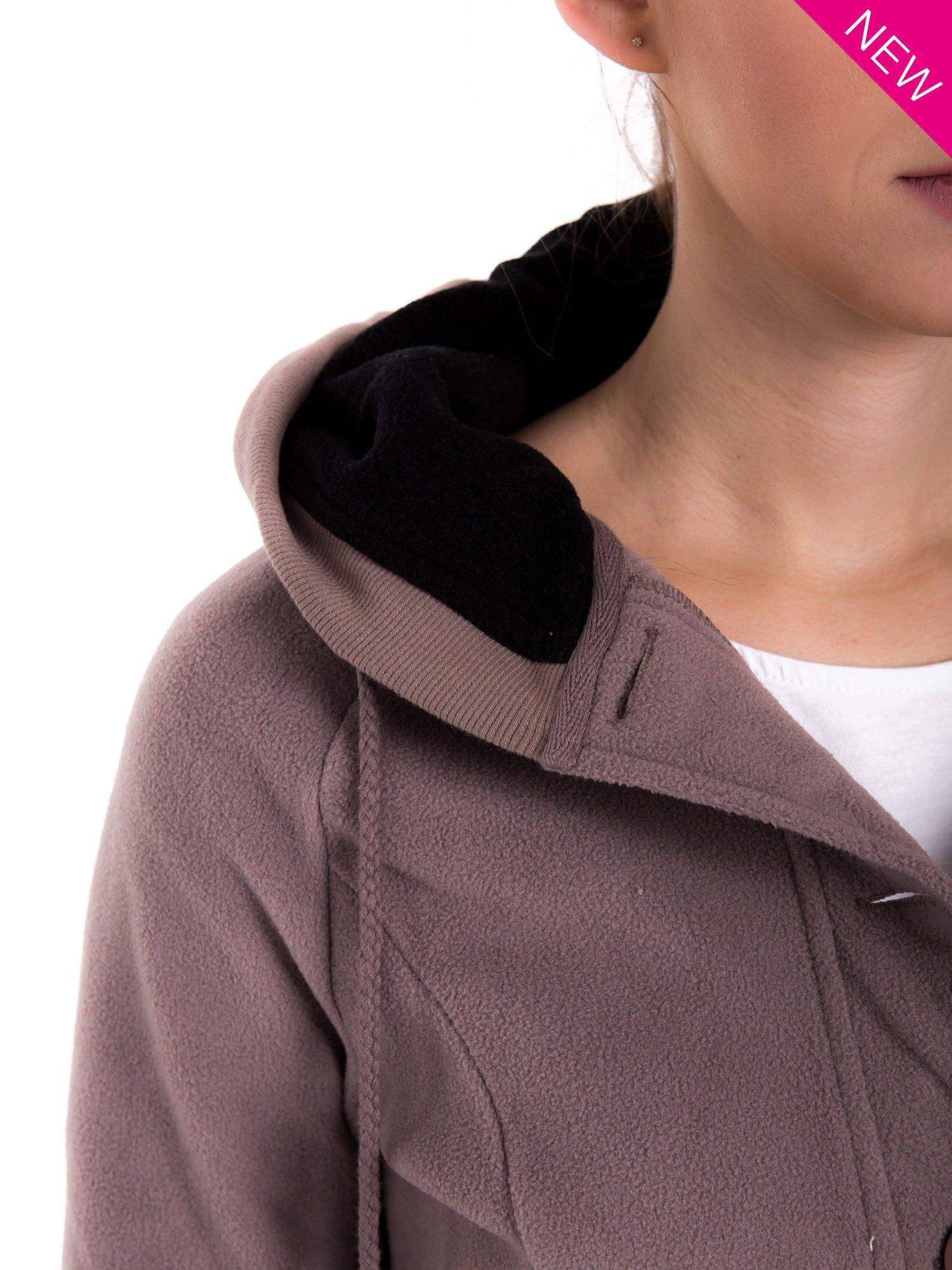 Brązowa polarowa bluza z kapturem z uszkami                                  zdj.                                  8