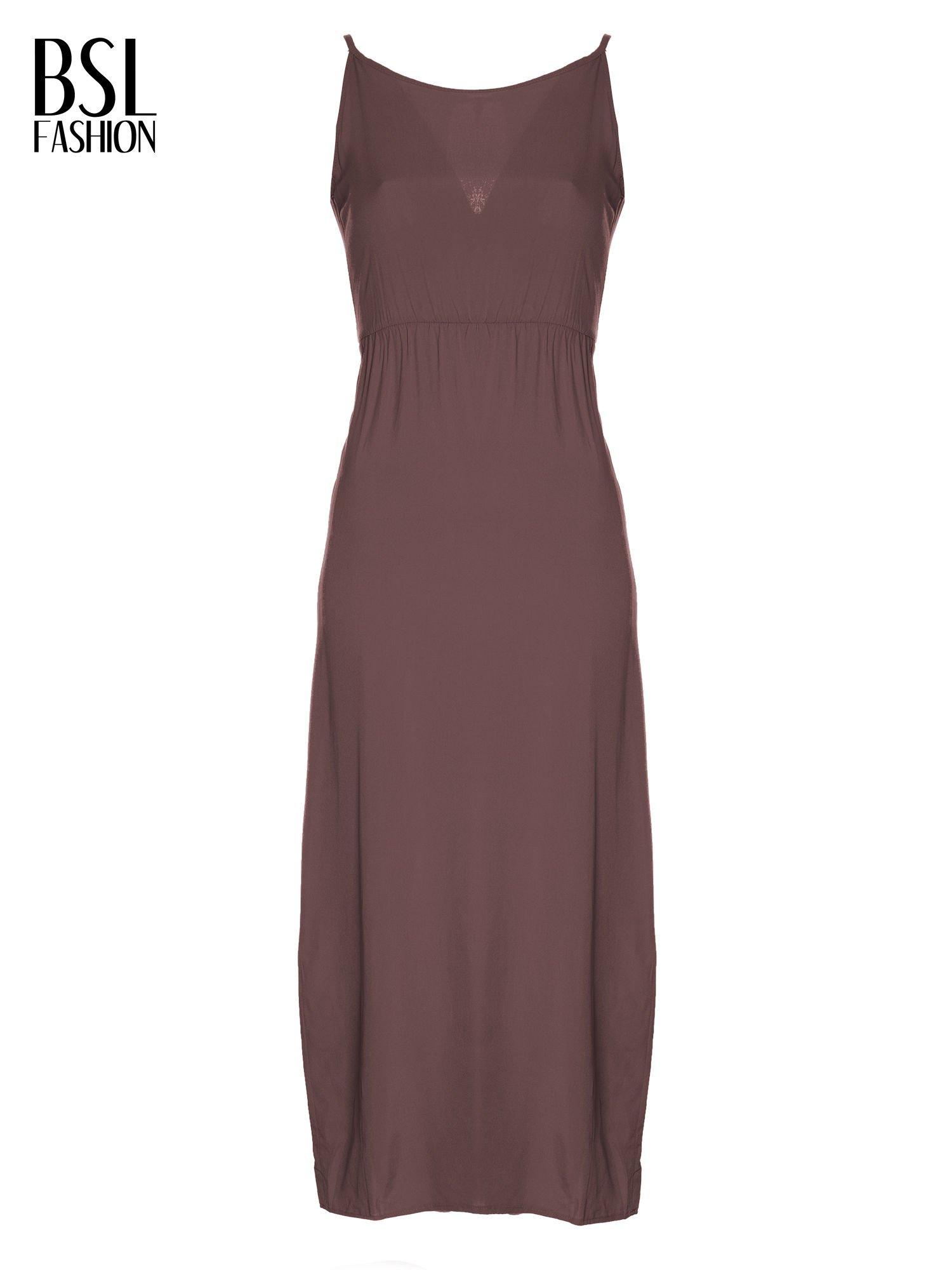 Brązowa sukienka maxi na ramiączkach z koronkowym tyłem                                  zdj.                                  5