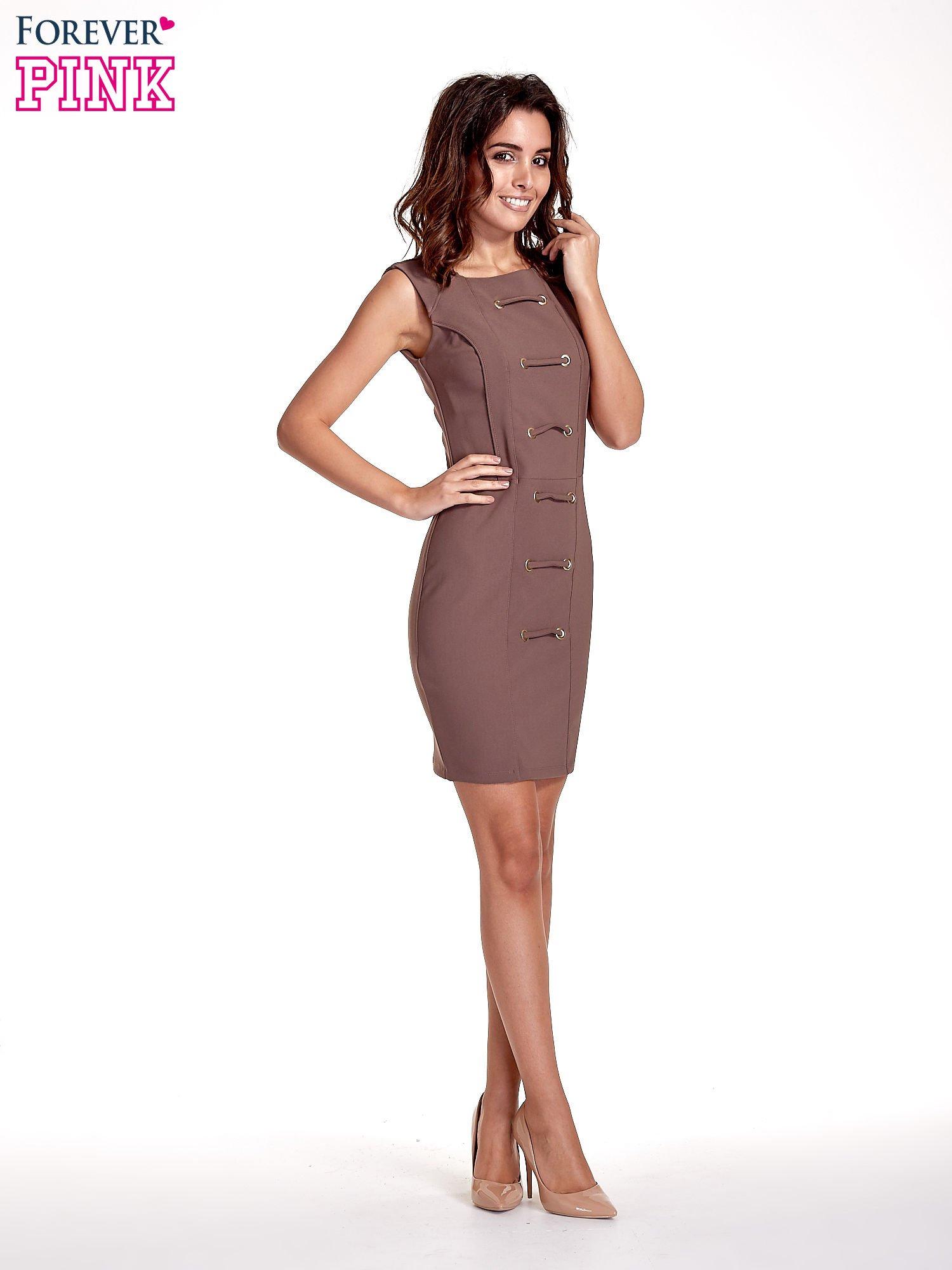 Brązowa sukienka ze sznurowaniem                                  zdj.                                  7
