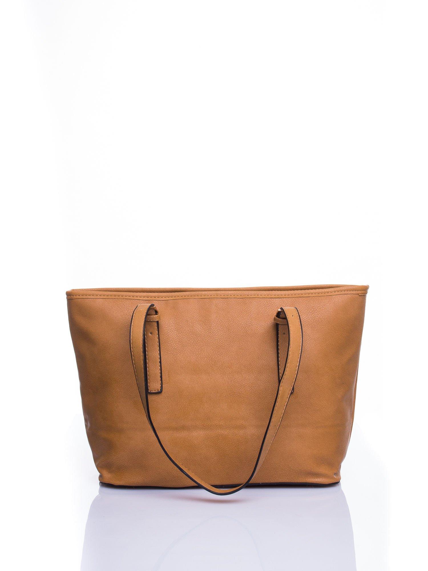 Brązowa torba shopper bag z regulowanymi rączkami                                  zdj.                                  3
