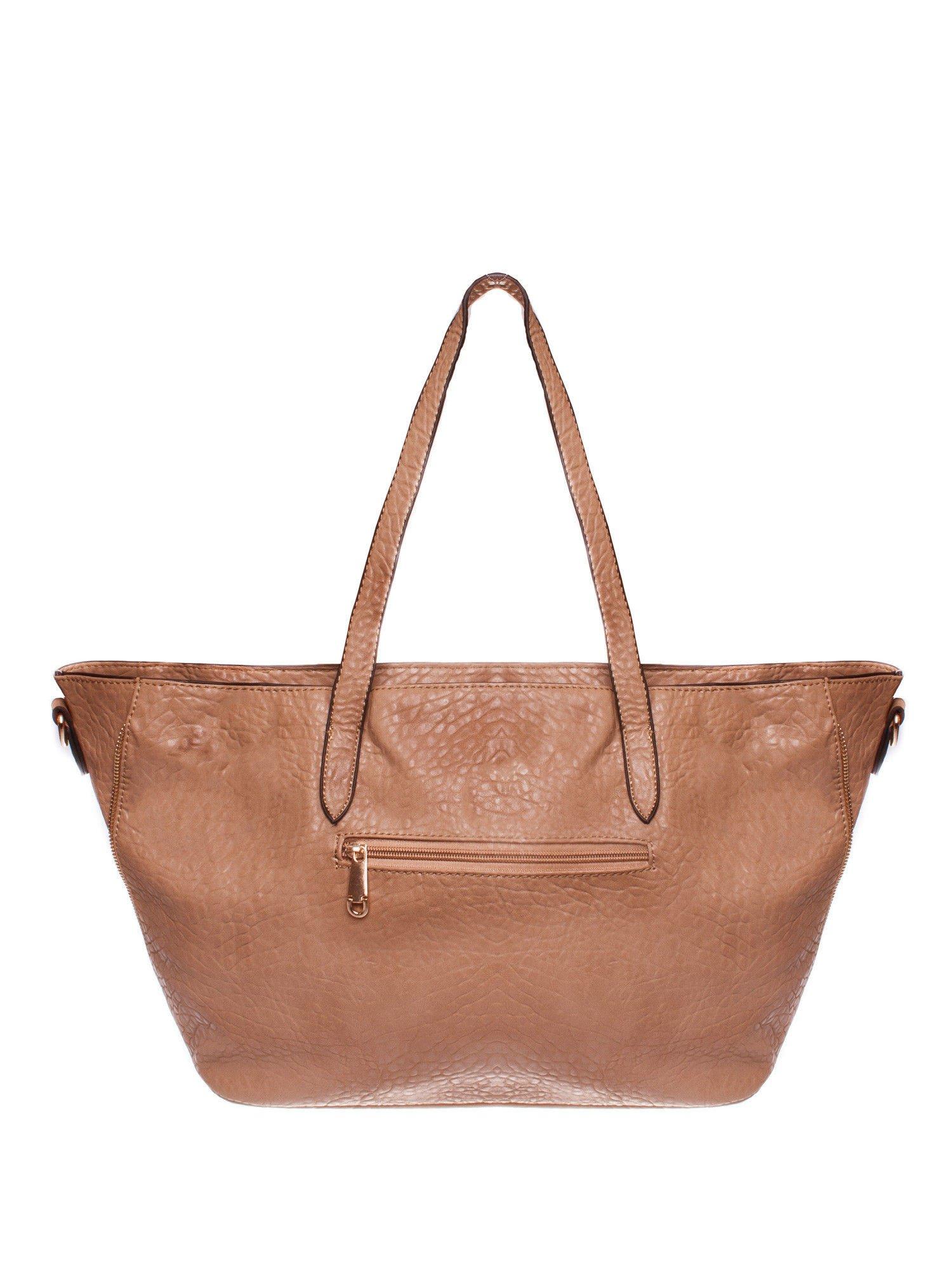 Brązowa torebka shopper bag z apaszką                                  zdj.                                  2