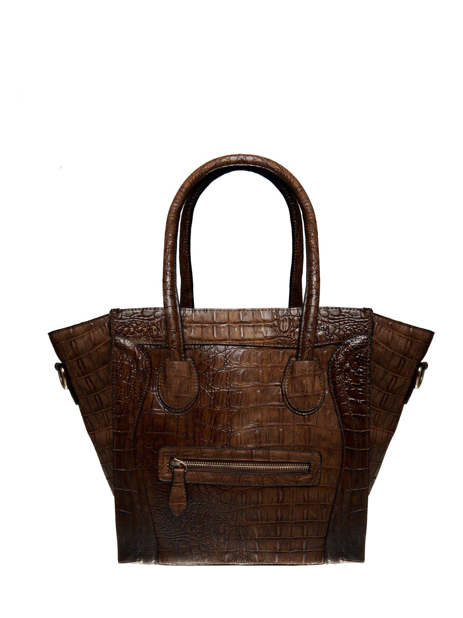 Brązowa trapezowa torba miejska z efektem skóry krokodyla                                  zdj.                                  1