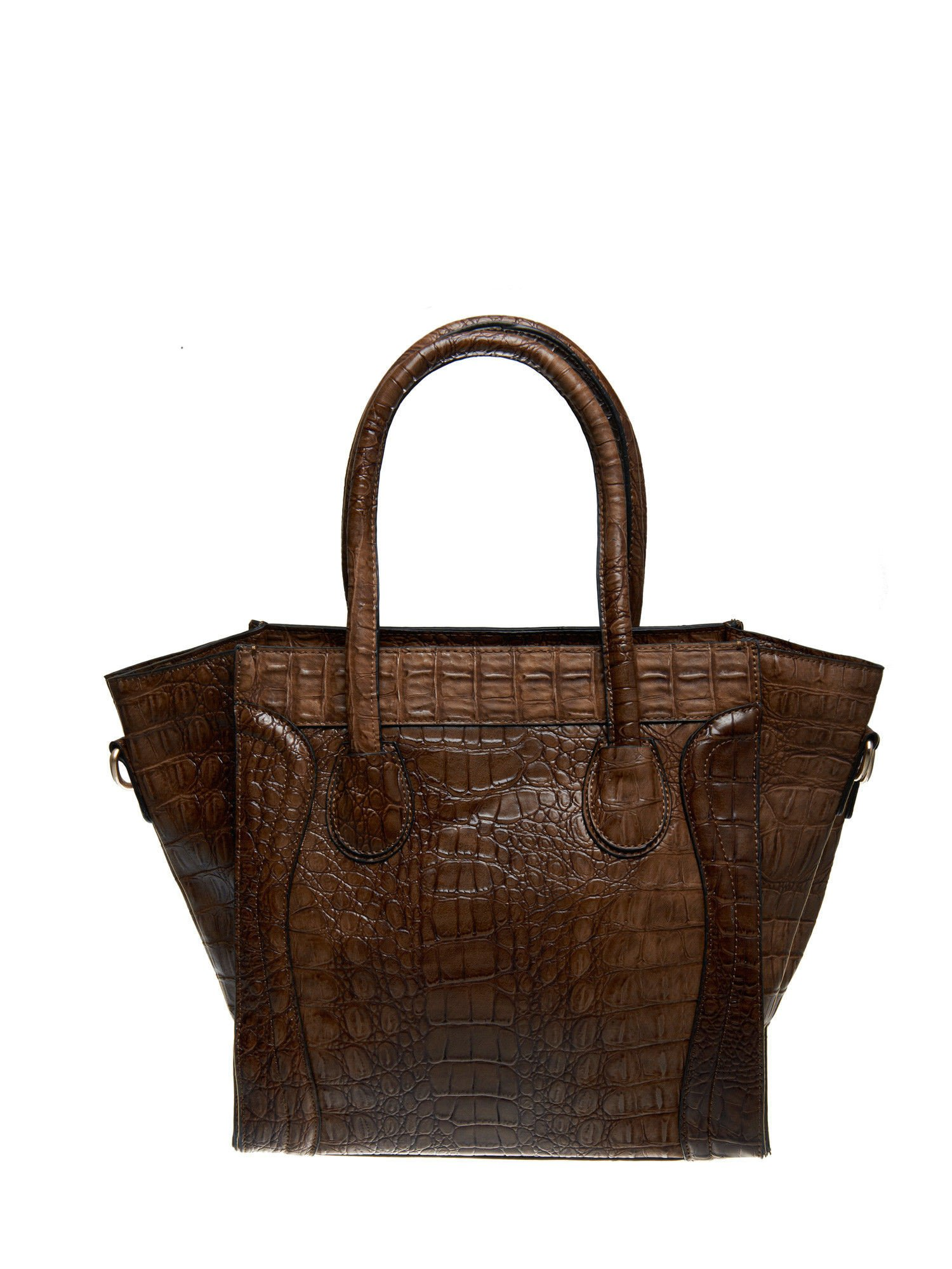 Brązowa trapezowa torba miejska z efektem skóry krokodyla                                  zdj.                                  2