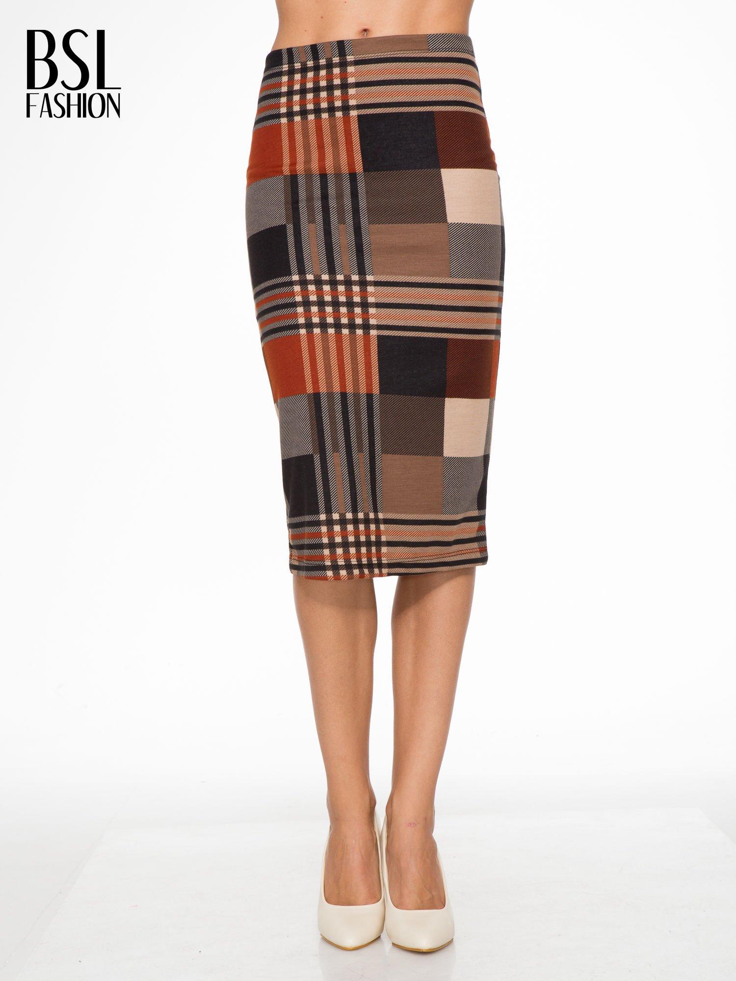 Brązowa wełniana ołówkowa spódnica w geometryczny nadruk                                  zdj.                                  1
