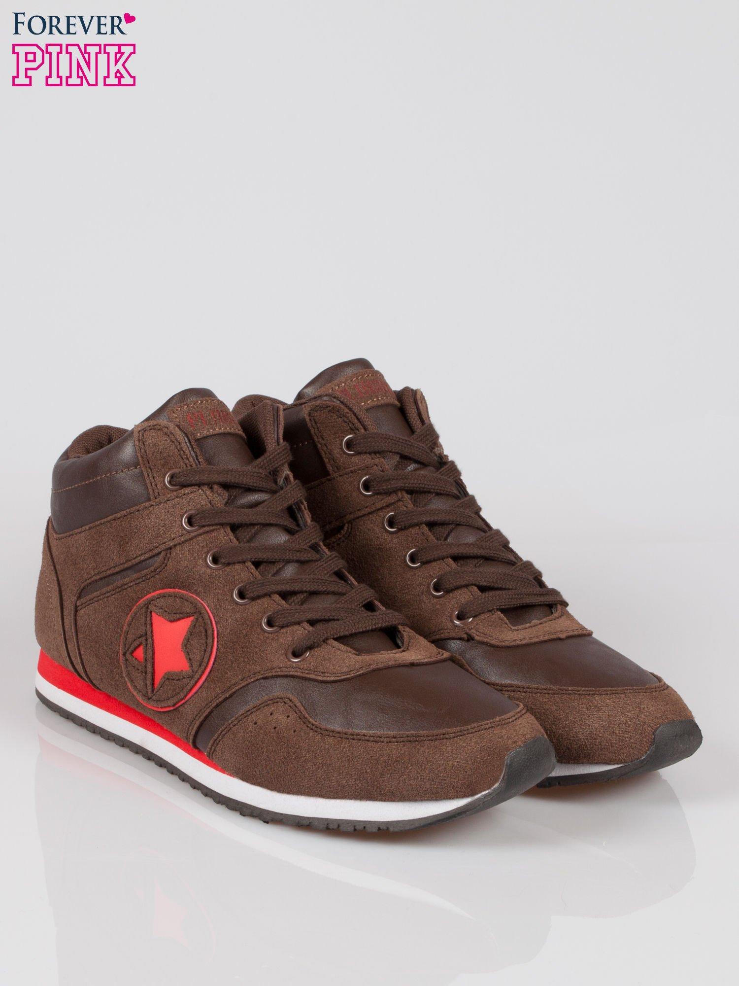 Brązowe buty sportowe faux suede Stylish z imitacji zamszu                                  zdj.                                  2