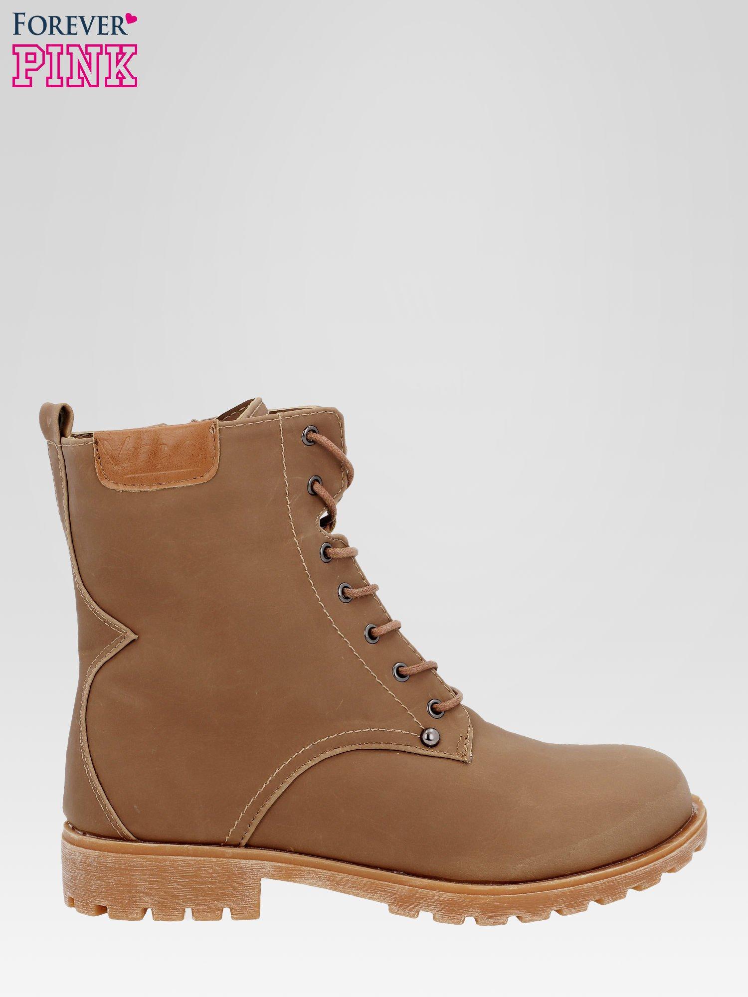 Brązowe damskie buty trekkingowe typu traperki                                  zdj.                                  1
