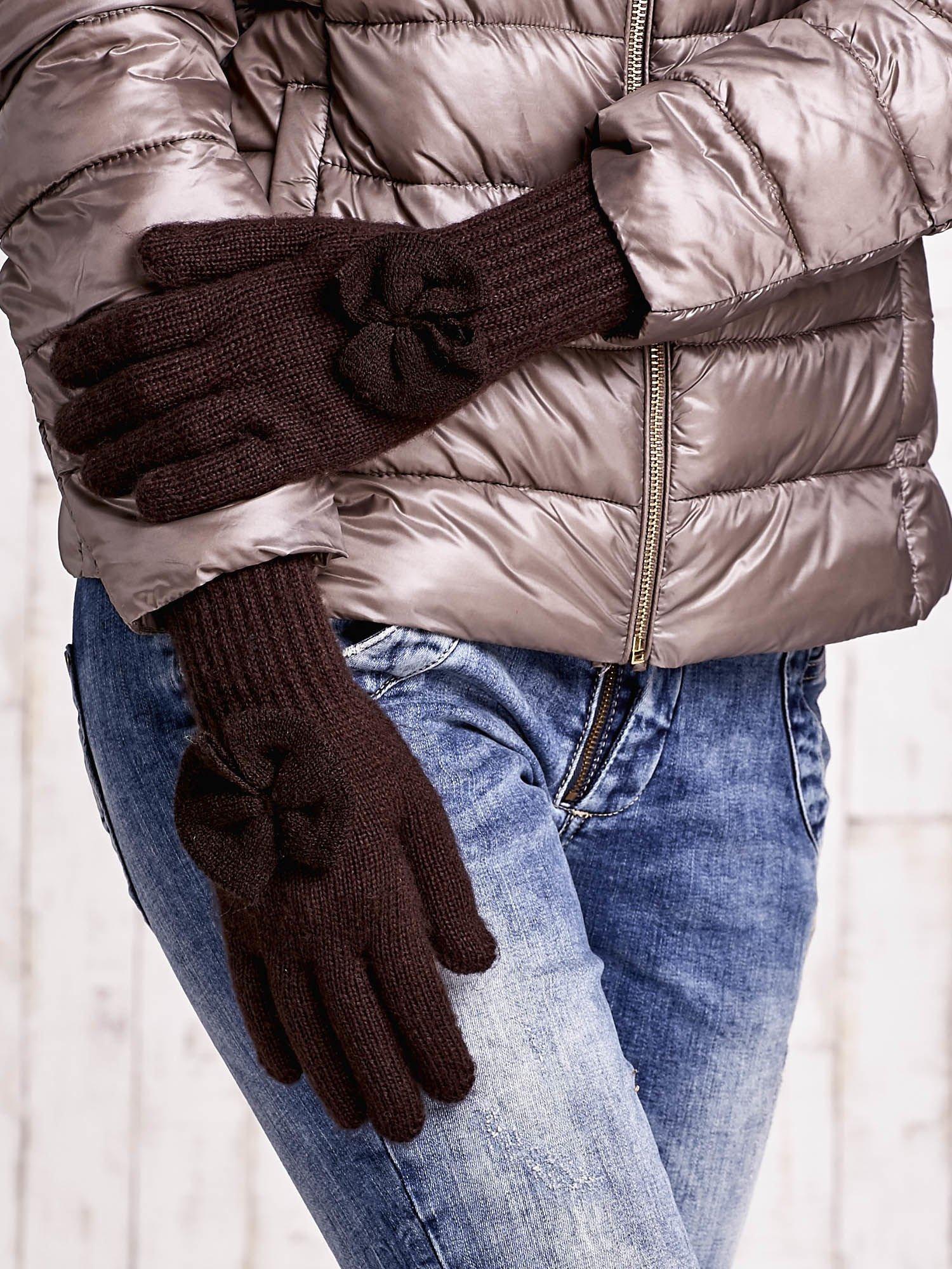 Brązowe rękawiczki z kokardką i długim ściągaczem                                  zdj.                                  3