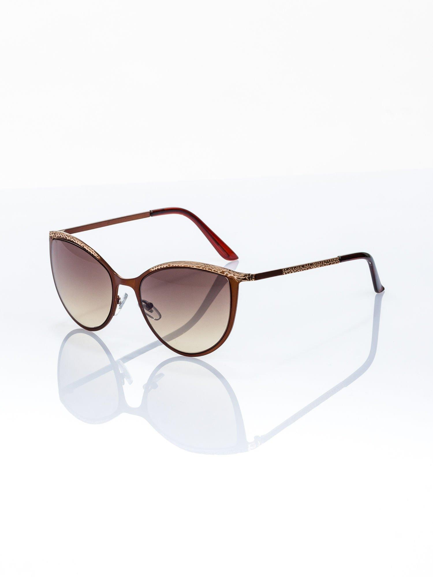 """Brązowo-złote okulary przeciwsłoneczne w stylu """"KOCIE OCZY""""                                  zdj.                                  2"""