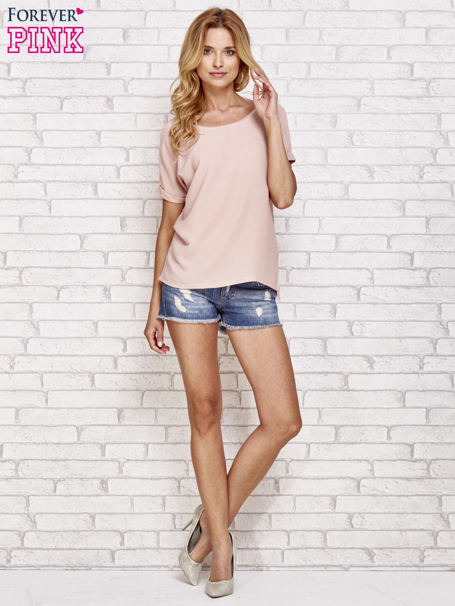 Brzoskwiniowa bluzka koszulowa z koronką z tyłu                                  zdj.                                  2