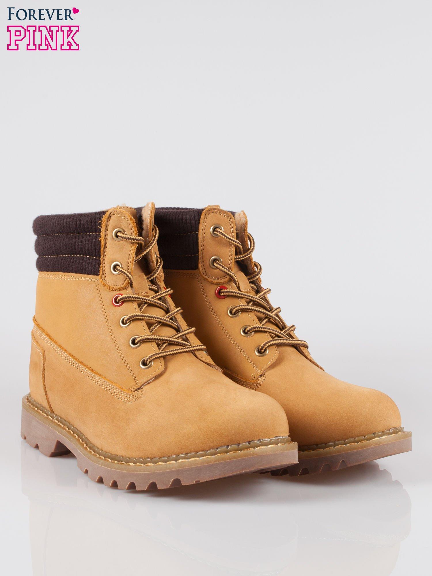 Camelowe buty trekkingowe traperki damskie z elastycznym kołnierzem ze skóry naturalnej                                  zdj.                                  2