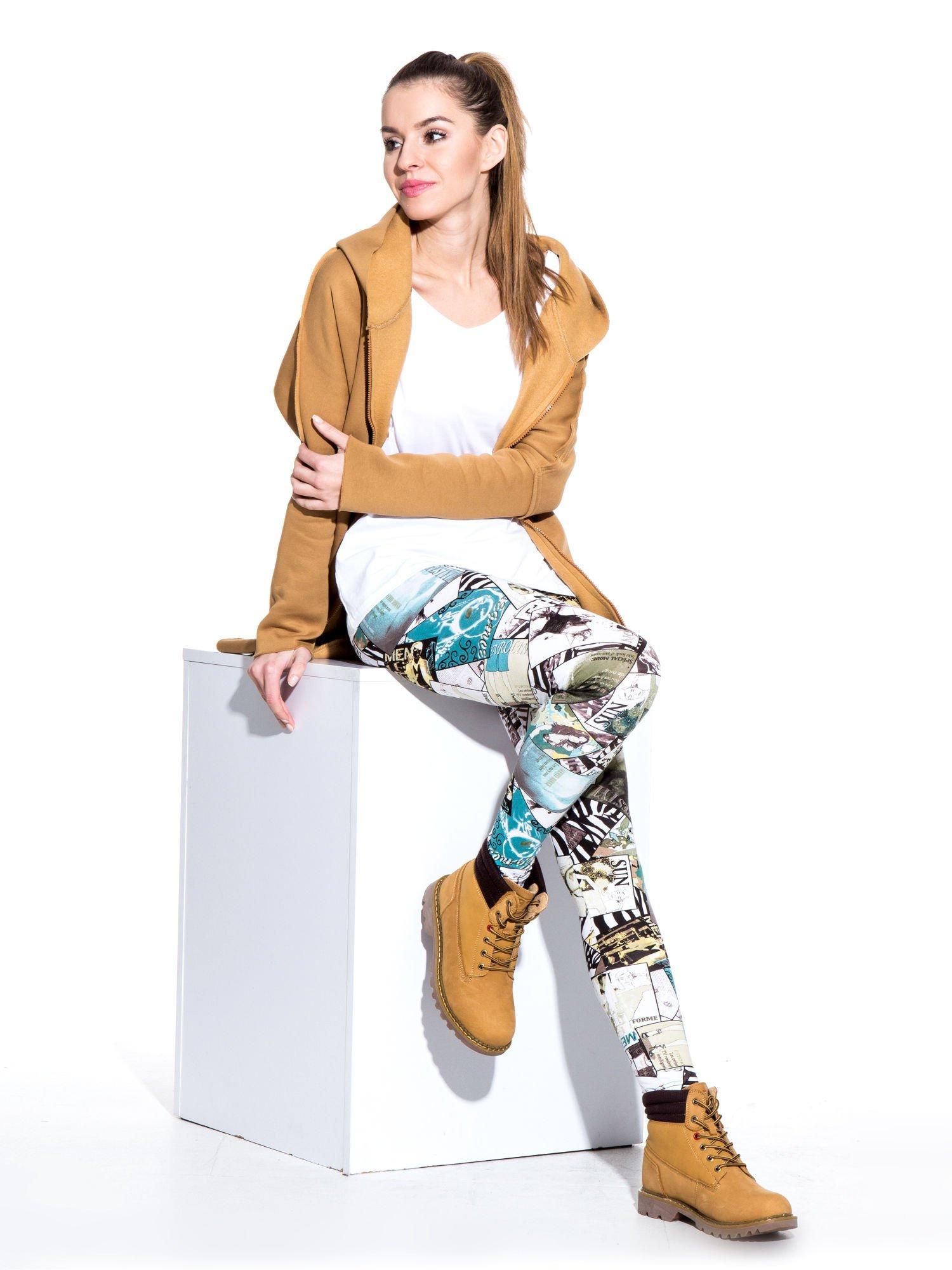 Camelowe buty trekkingowe traperki damskie z elastycznym kołnierzem ze skóry naturalnej                                  zdj.                                  5