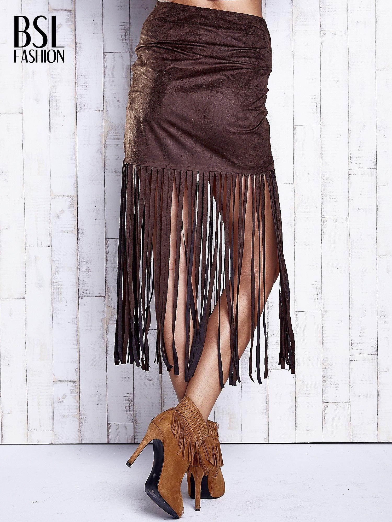 Ciemnobrązowa zamszowa spódnica z frędzlami                                  zdj.                                  2