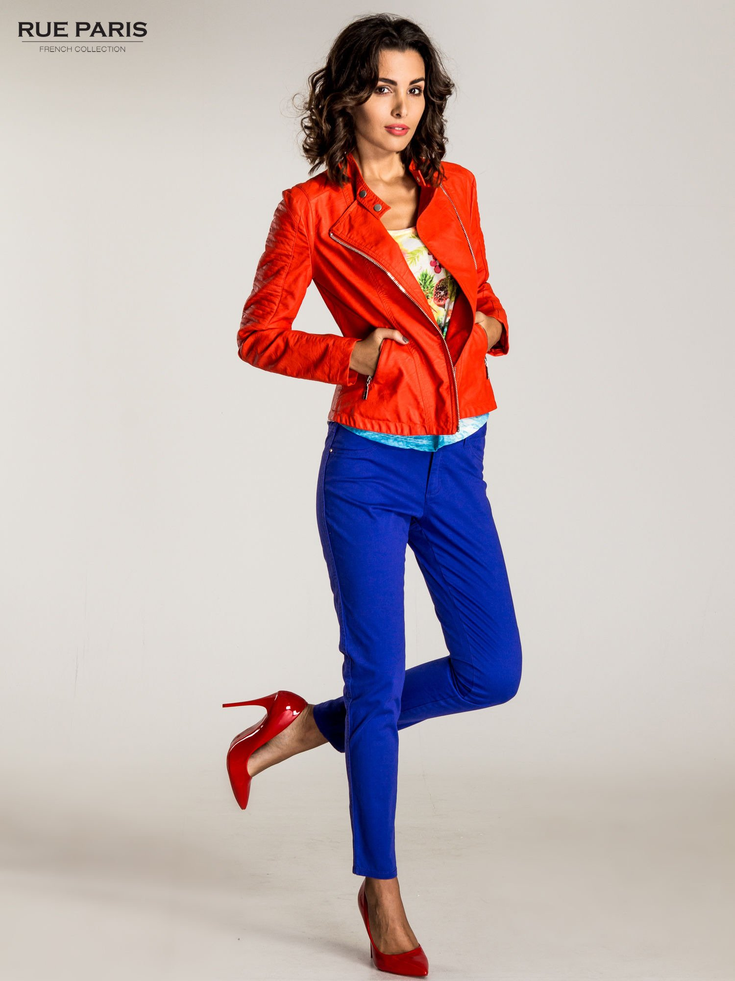Ciemnofioletowe spodnie materiałowe w stylu chinos                                  zdj.                                  4