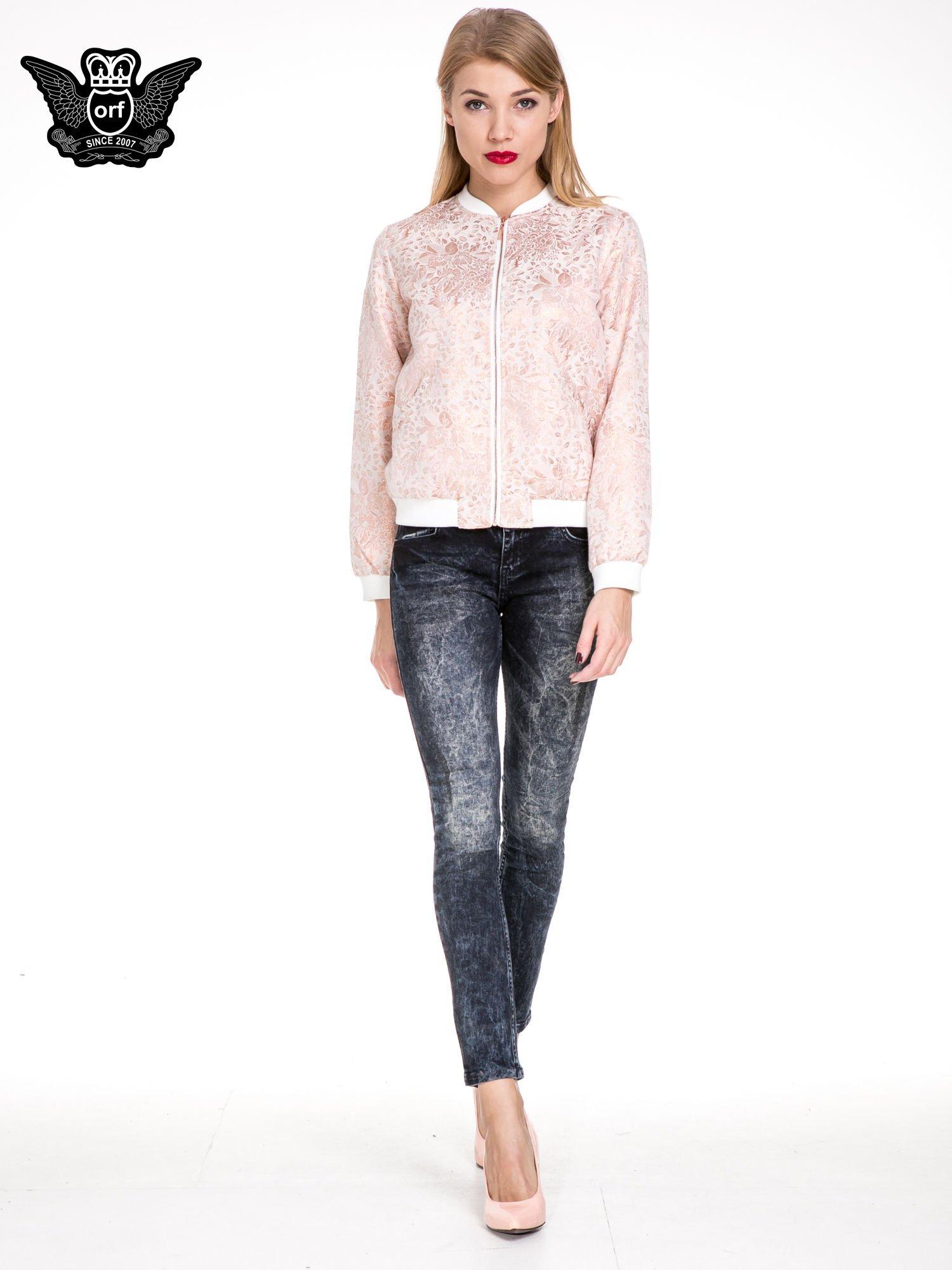 Ciemnogranatowe dekatyzowane spodnie skinny jeans                                  zdj.                                  2