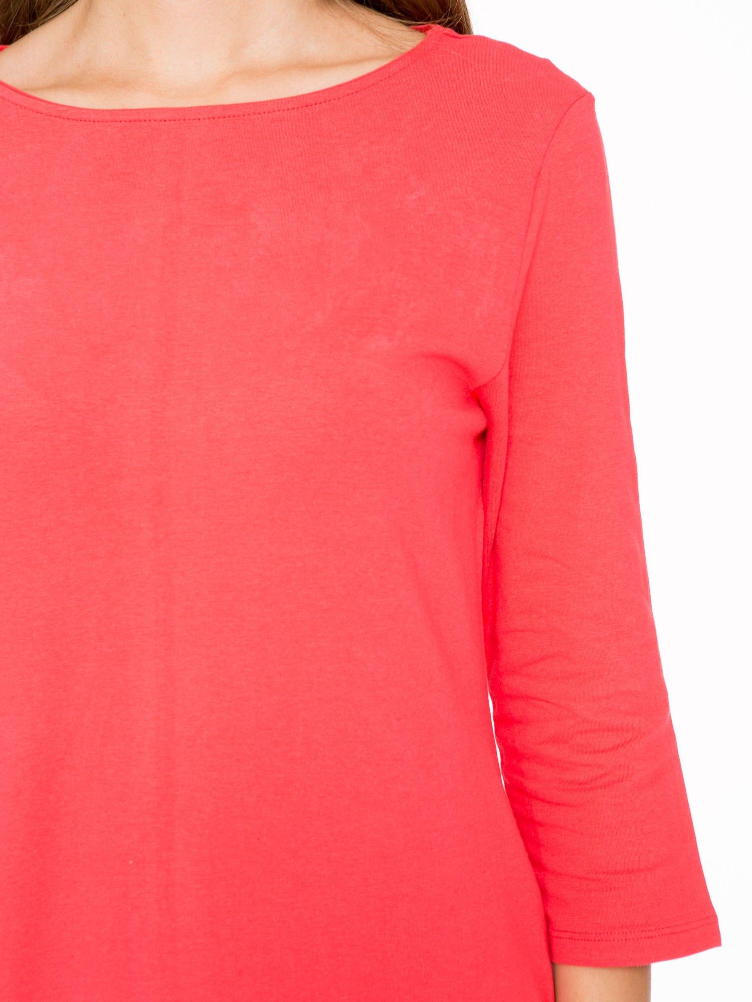 Ciemnokoralowa dresowa sukienka z kieszeniami po bokach                                  zdj.                                  6
