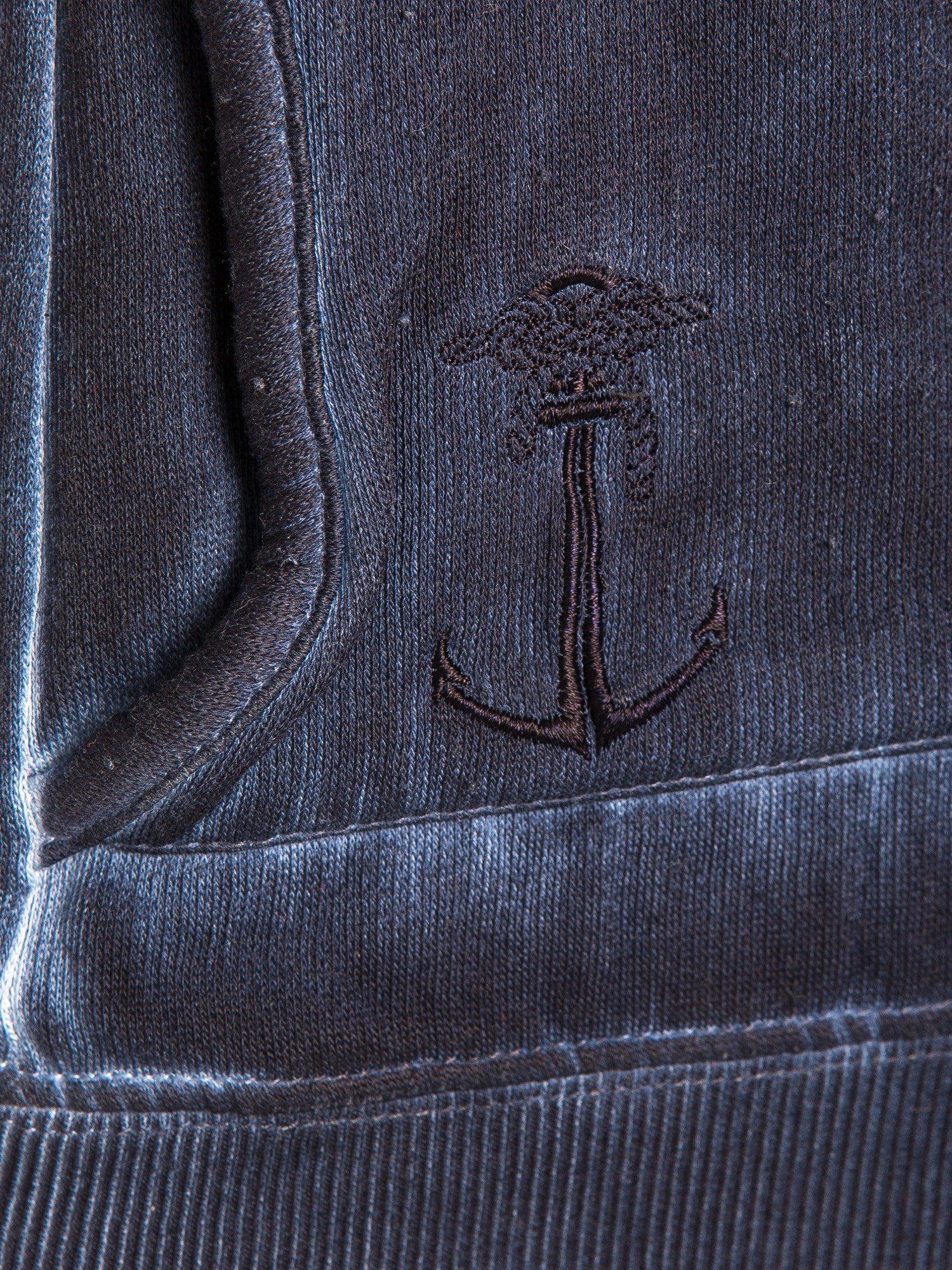Ciemnoniebieska bluza z kapturem z efektem sprania                                  zdj.                                  6