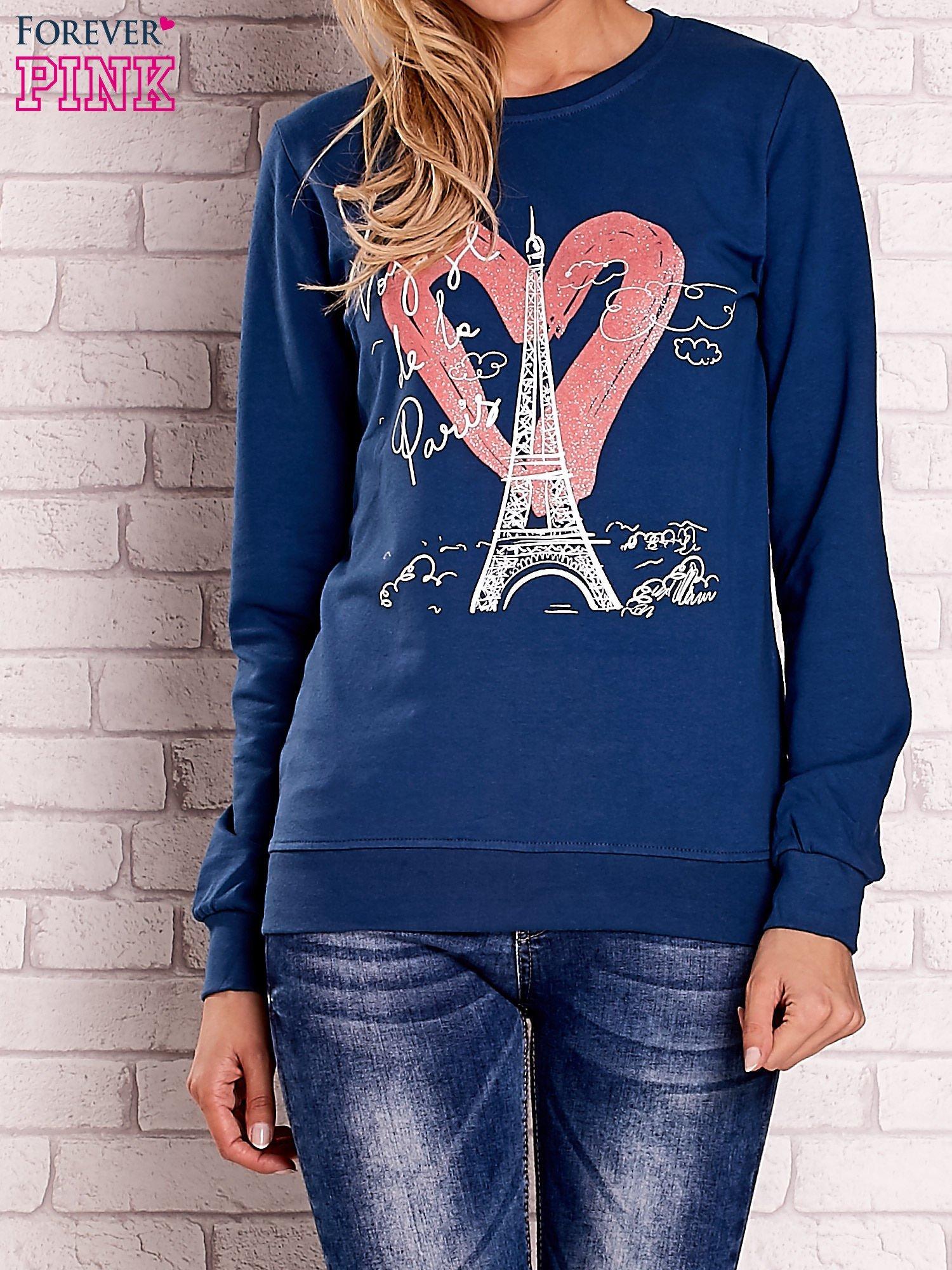 Ciemnoniebieska bluza z motywem paryskim                                  zdj.                                  1