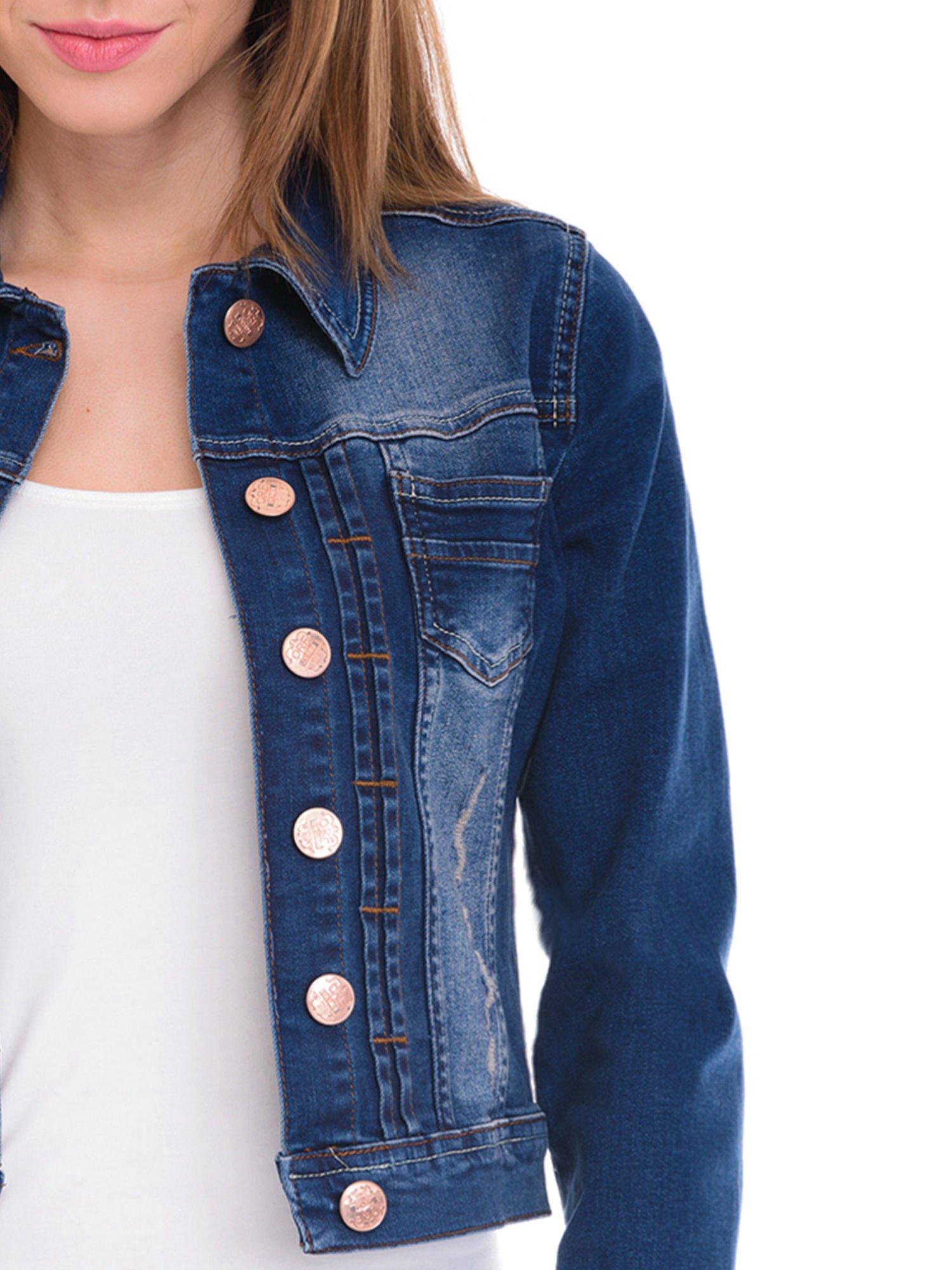 Ciemnoniebieska kurtka jeansowa damska z cieniowaniem i przetarciami                                  zdj.                                  5