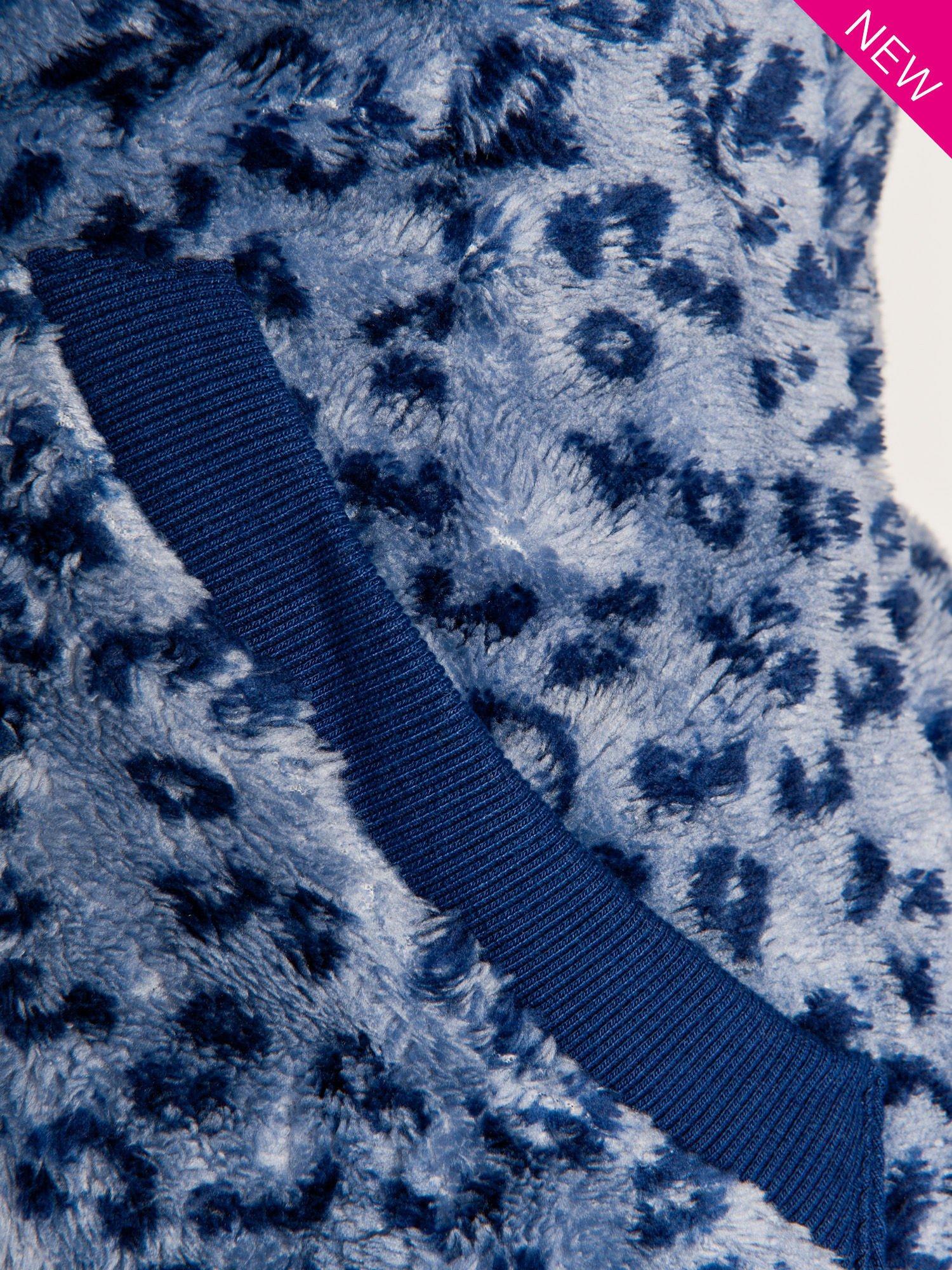 Ciemnoniebieska panterkowa kamizelka z kapturem z uszkami                                  zdj.                                  5