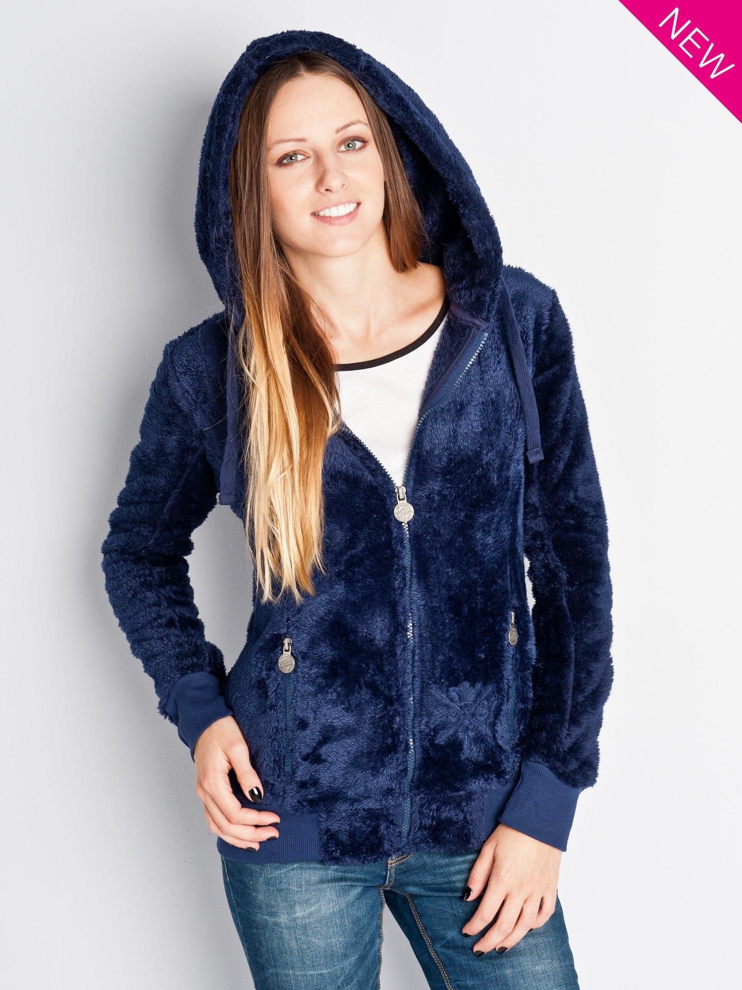 Ciemnoniebieska włochata bluza z kapturem i suwakami                                  zdj.                                  1