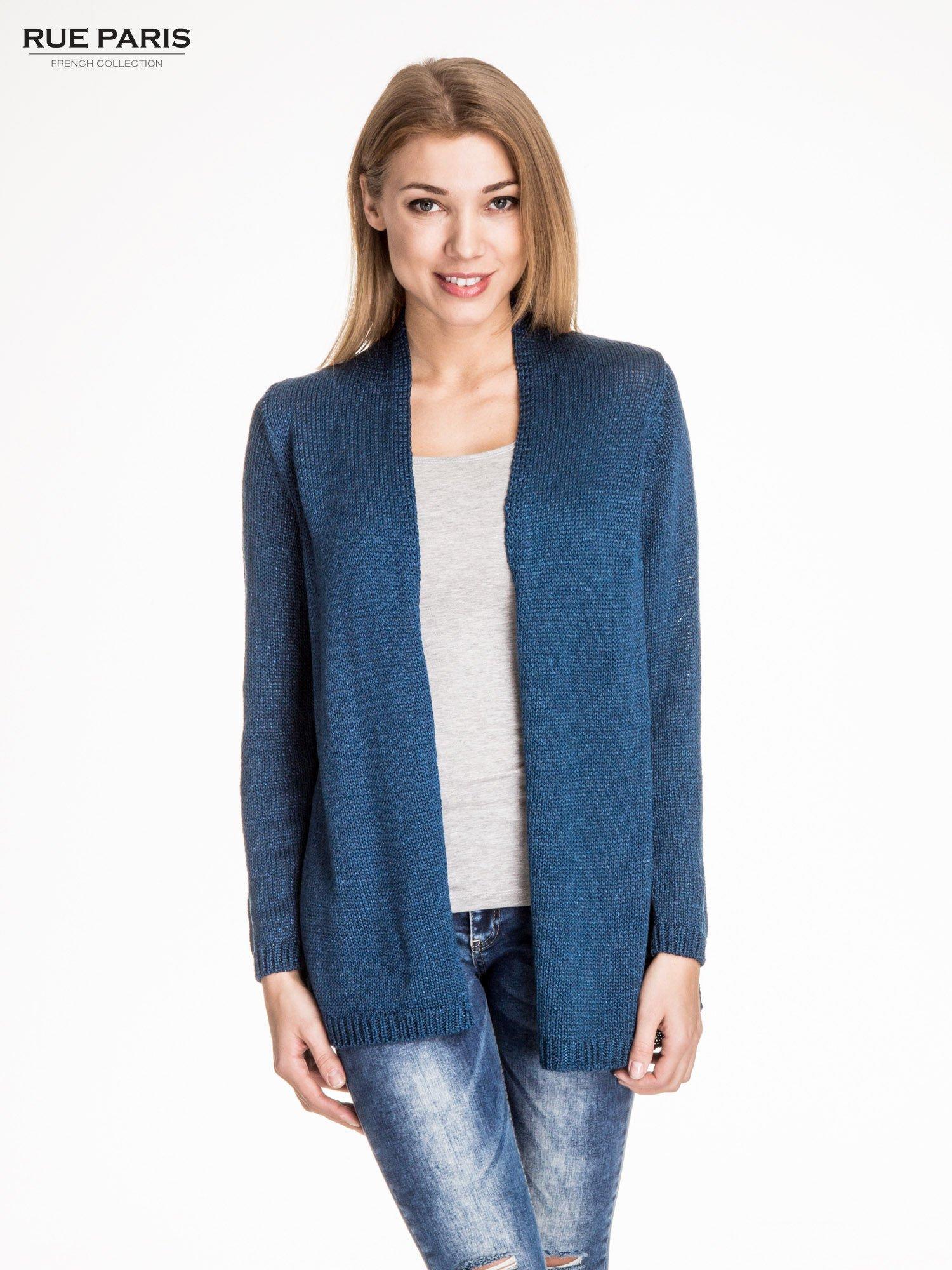 Ciemnoniebieski otwarty sweter z błyszczącą nitką                                  zdj.                                  1