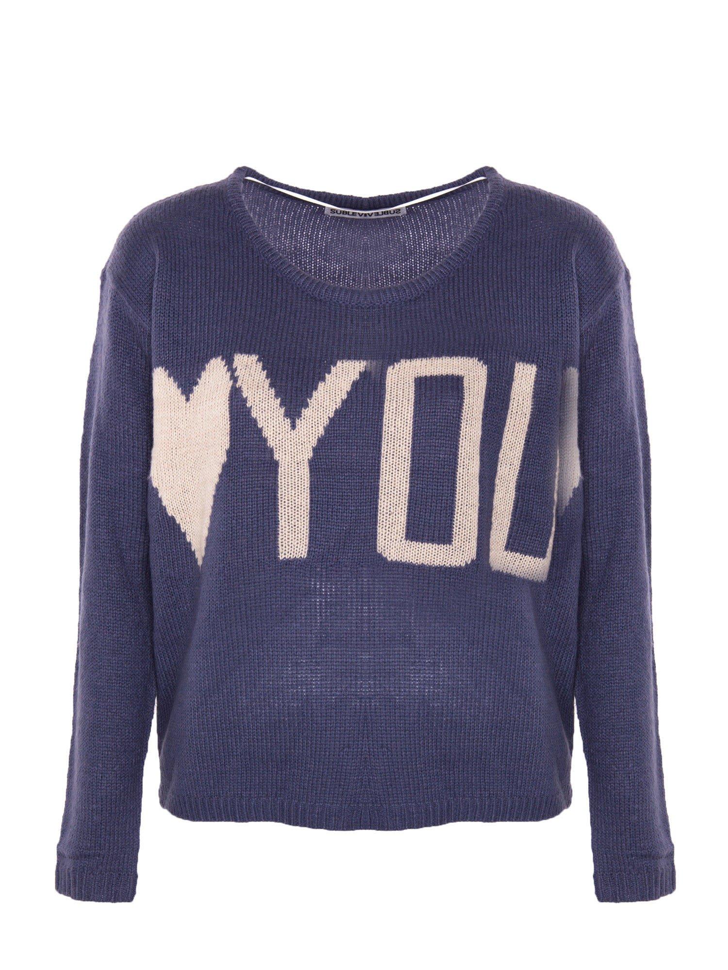 Ciemnoniebieski sweter z sercem i napisem YOU                                  zdj.                                  1