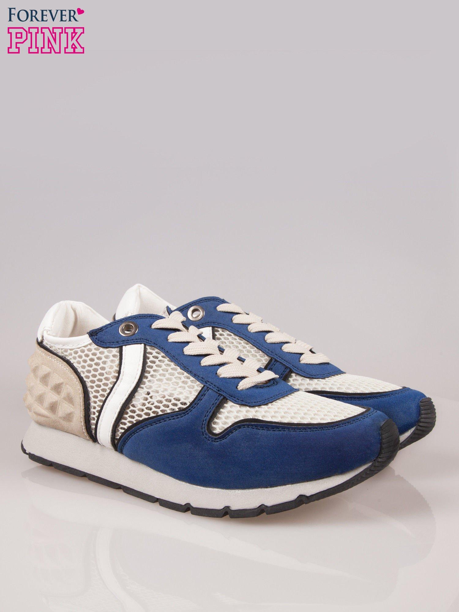 Ciemnoniebieskie buty sportowe Dragon z siateczką na wysokiej podeszwie                                  zdj.                                  2