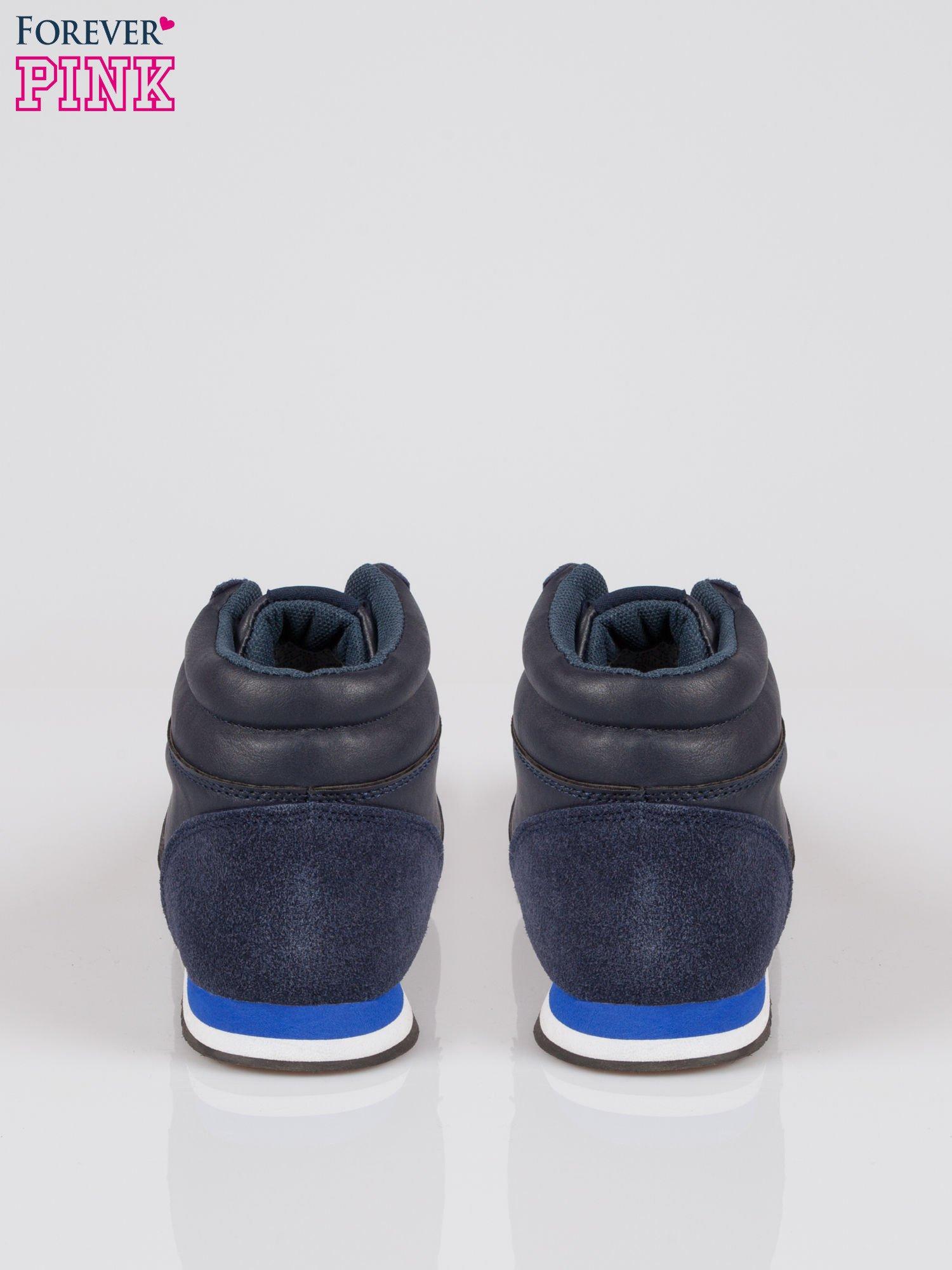 Ciemnoniebieskie buty sportowe faux leather Glory za kostkę w stylu koszykarskim                                  zdj.                                  3