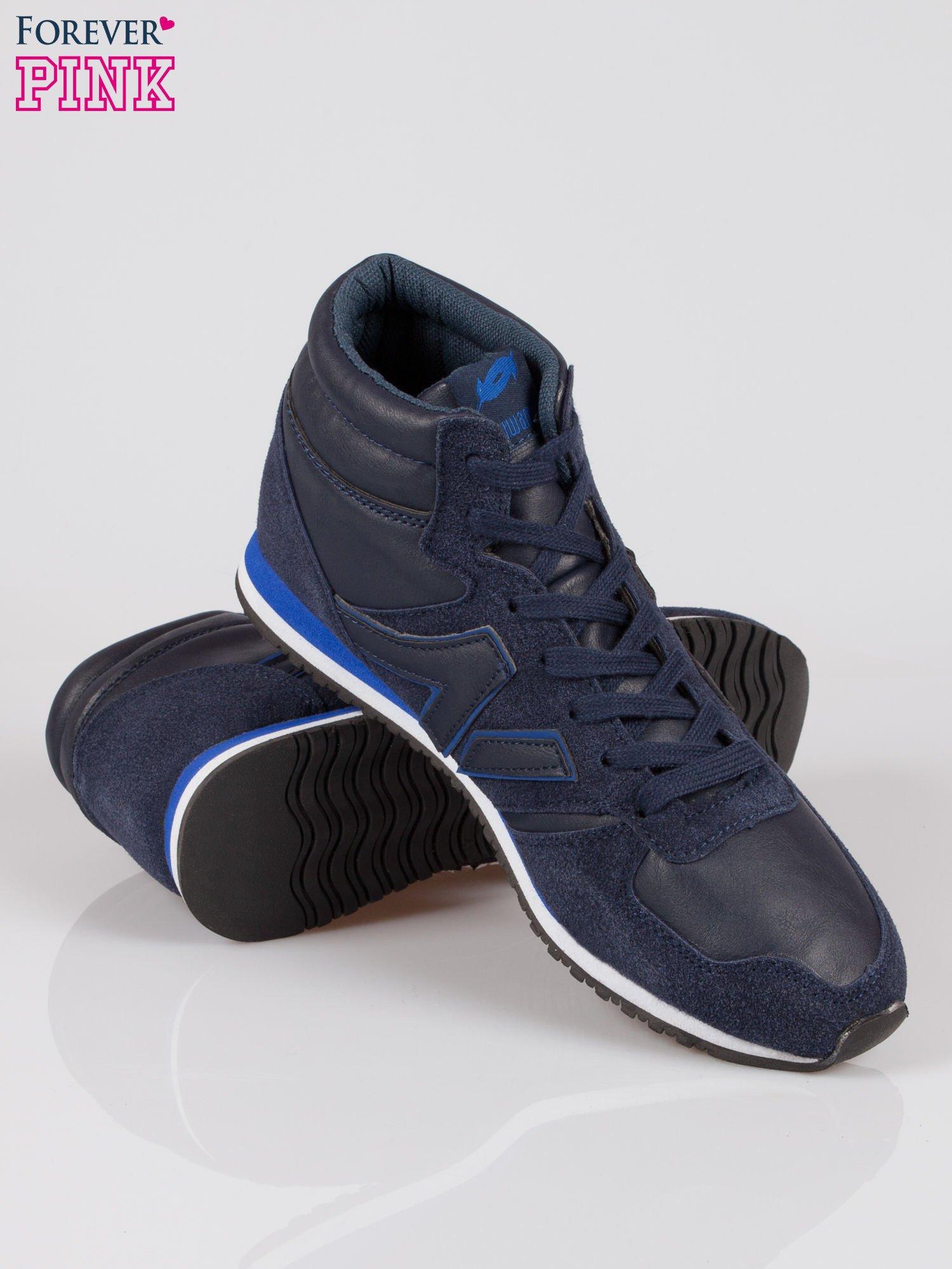 Ciemnoniebieskie buty sportowe faux leather Glory za kostkę w stylu koszykarskim                                  zdj.                                  4
