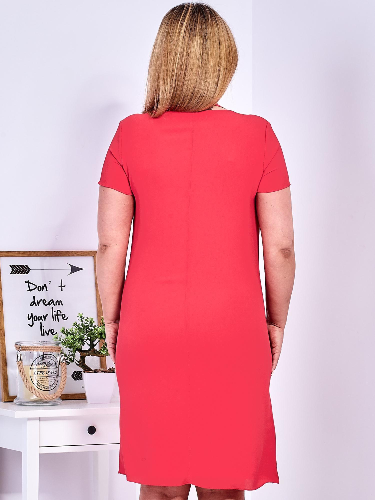 7e1851c7fa Ciemnoróżowa sukienka z ozdobnym wiązaniem PLUS SIZE - Sukienka ...