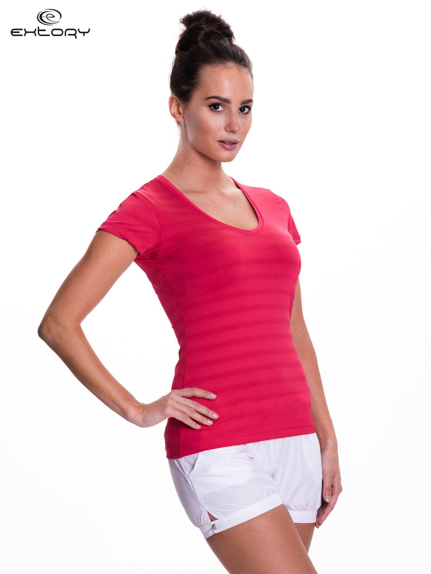 Ciemnoróżowy t-shirt sportowy w paseczki                                  zdj.                                  3