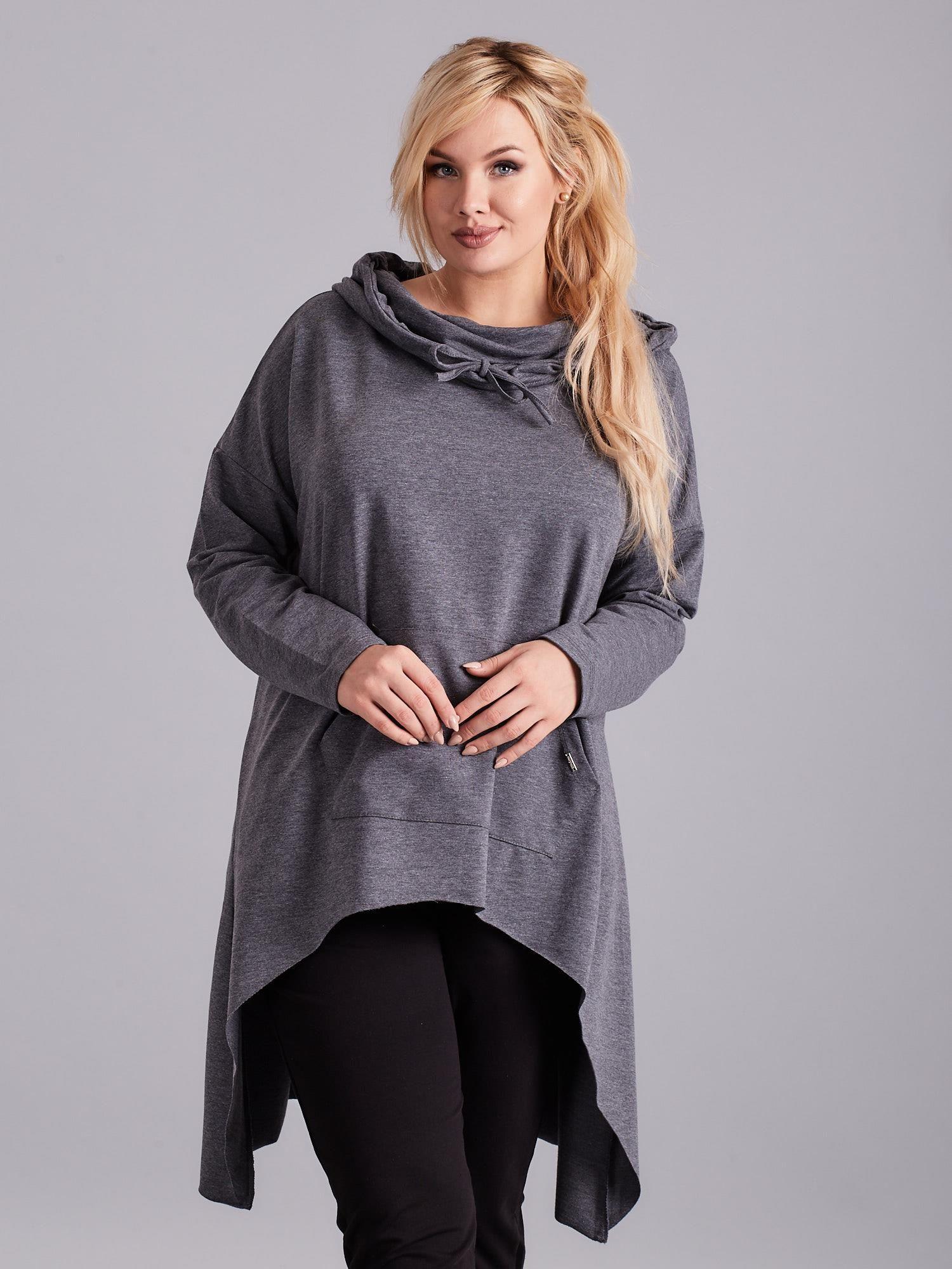 e955d8bb7e Ciemnoszara asymetryczna bluza PLUS SIZE - Bluza plus size - sklep ...