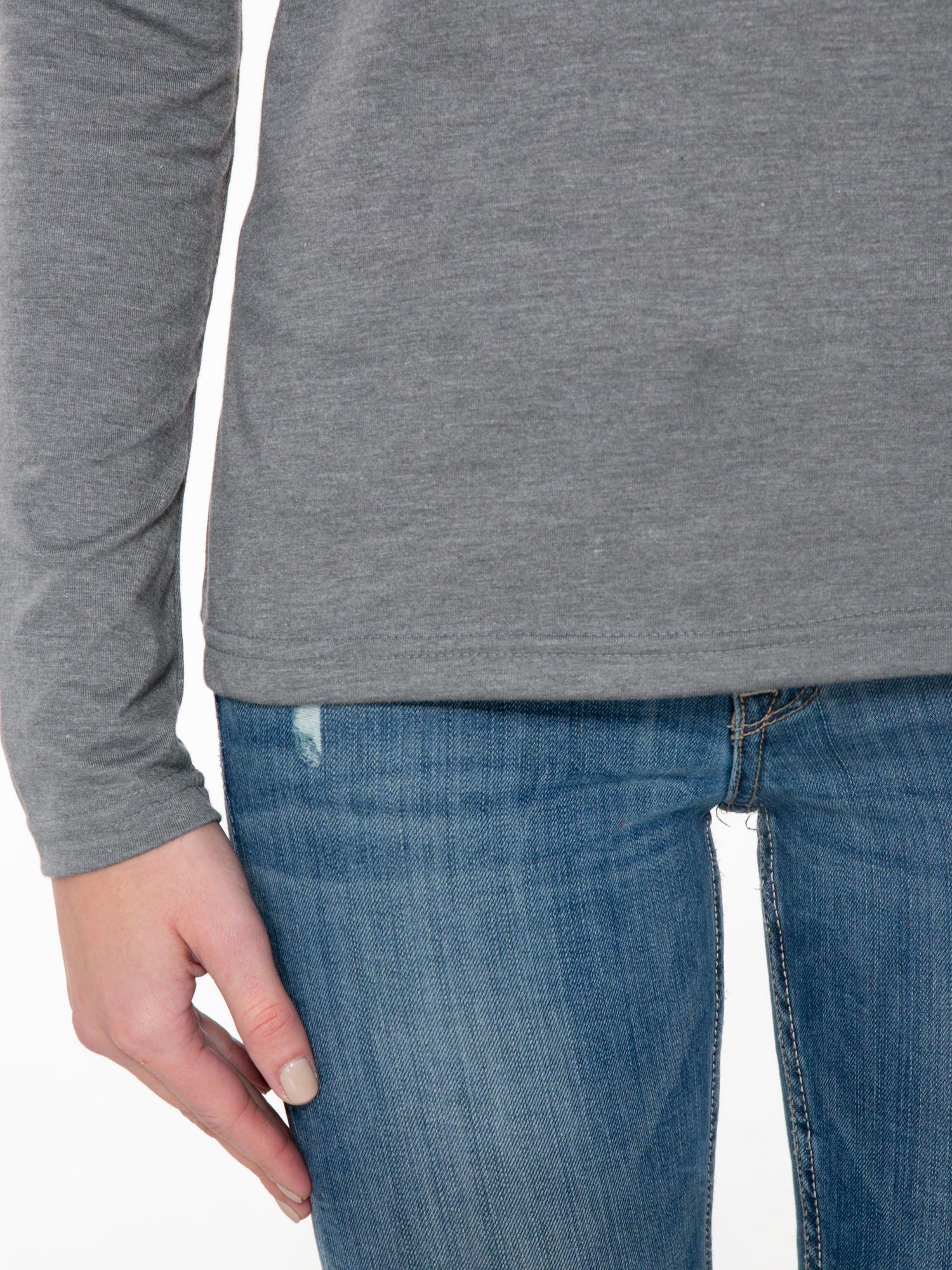 Ciemnoszara bawełniana bluzka typu basic z długim rękawem                                  zdj.                                  6