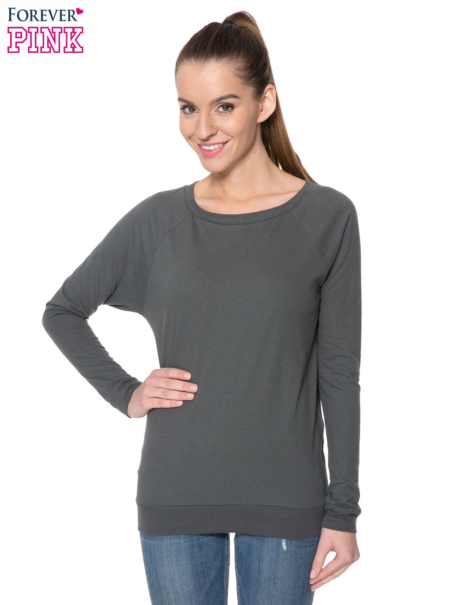Ciemnoszara bawełniana bluzka z rękawami typu reglan                                  zdj.                                  1
