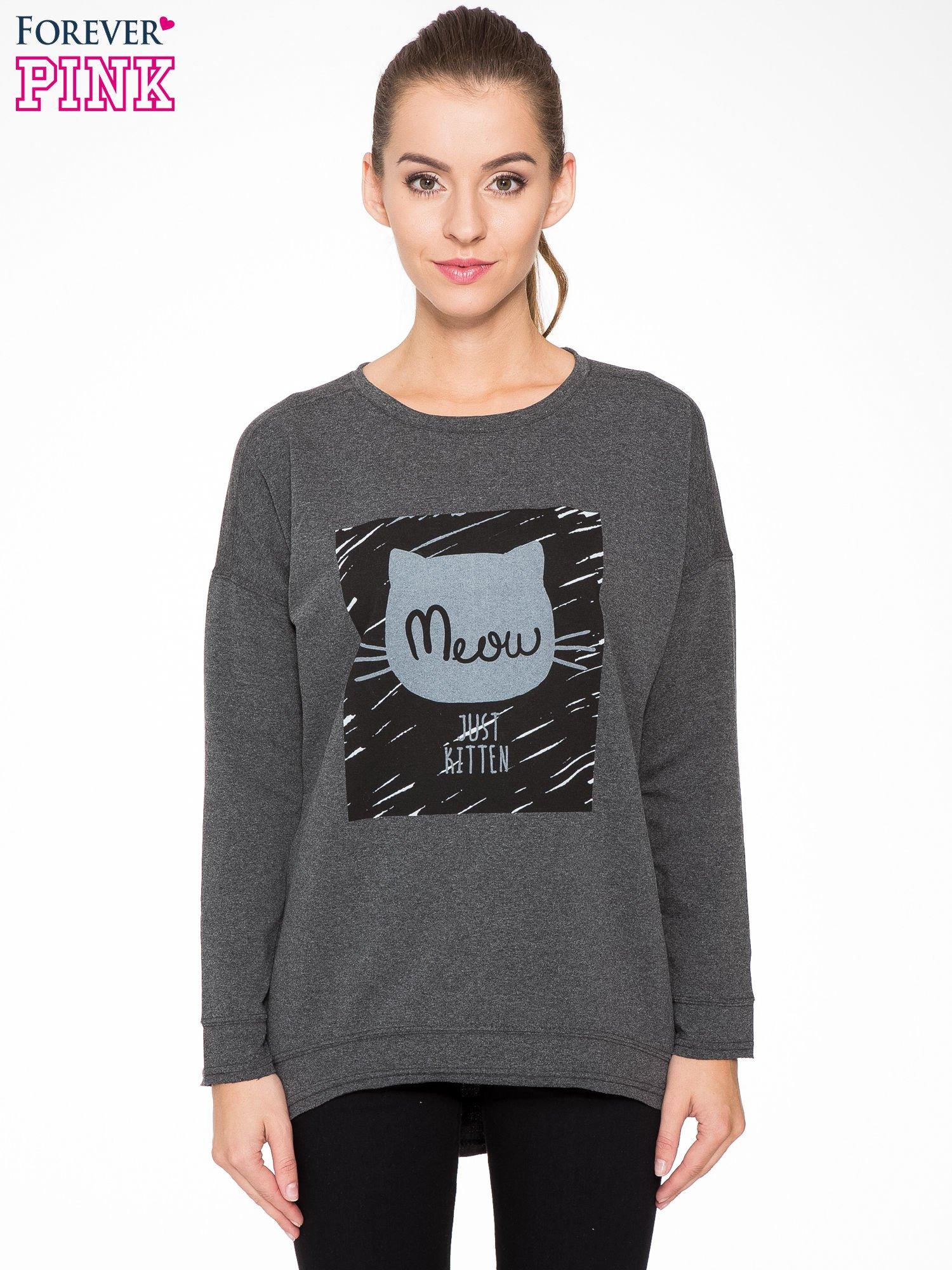 Ciemnoszara bluza z nadrukiem MEOW                                  zdj.                                  1